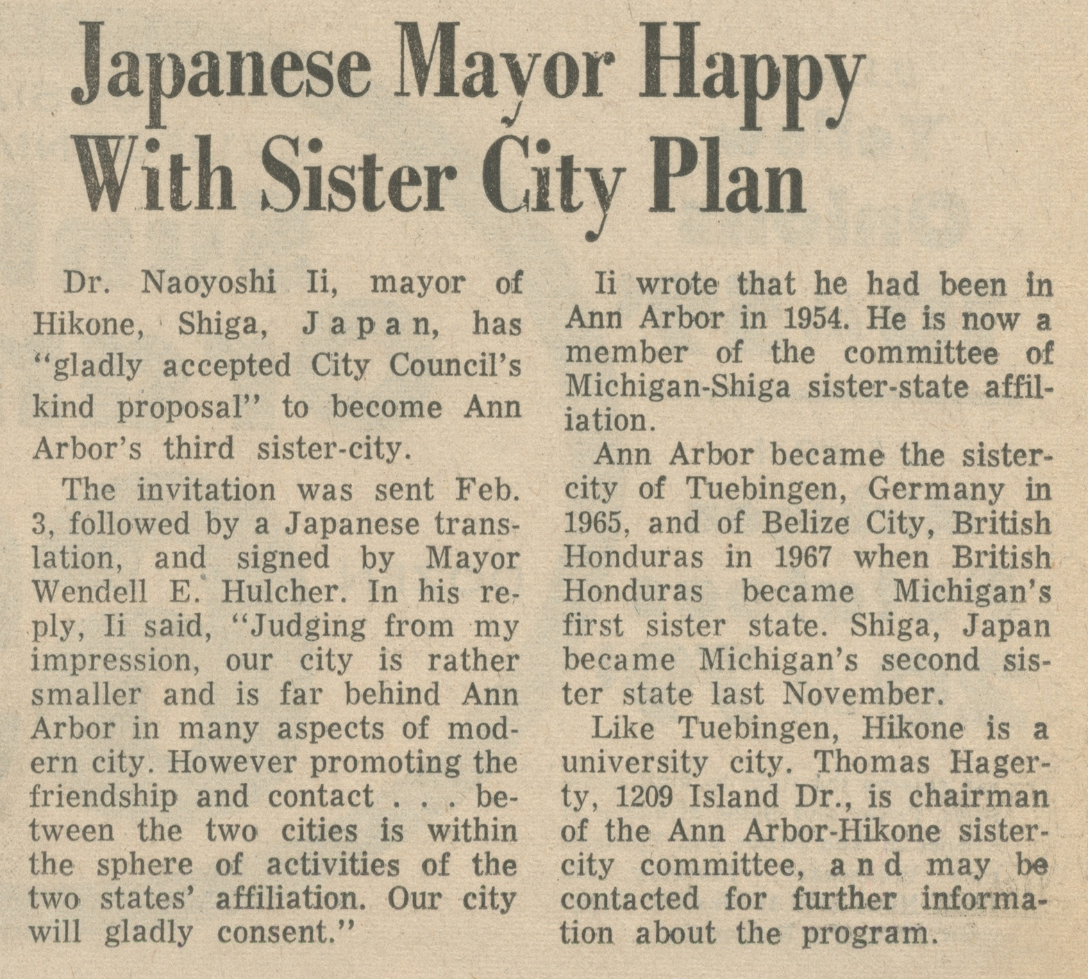 Japanese Mayor Happy With Sister City Plan image