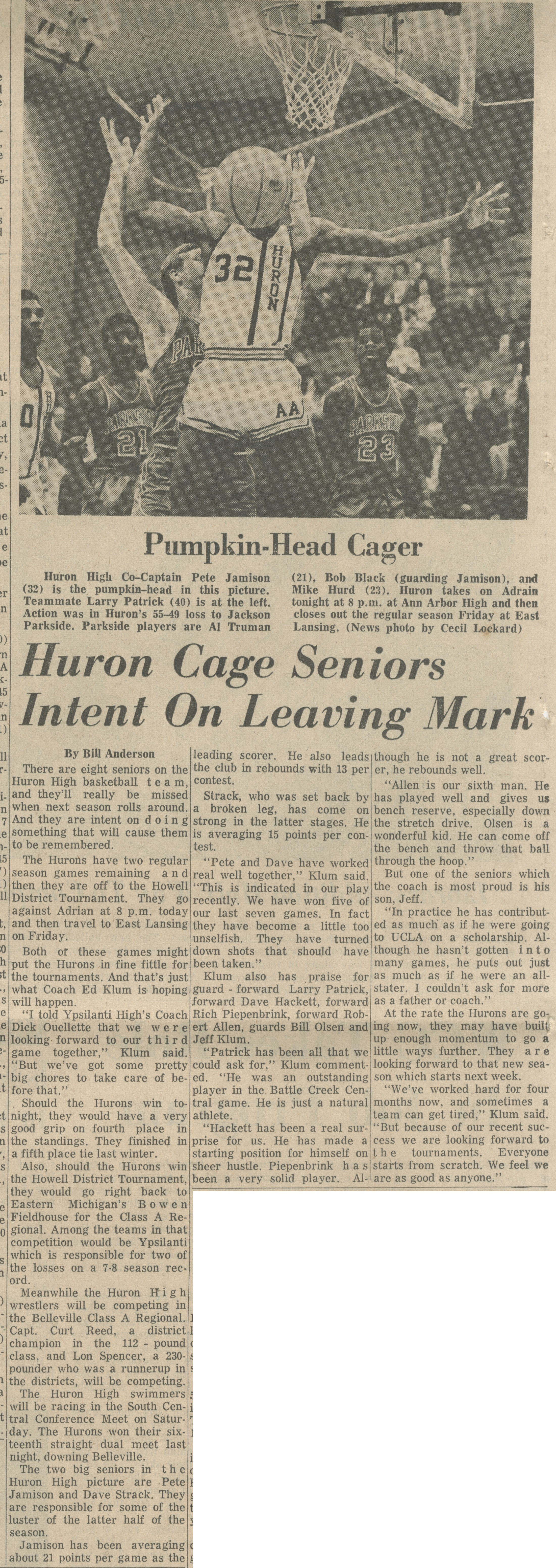 Huron Cage Seniors Intent On Leaving Mark image