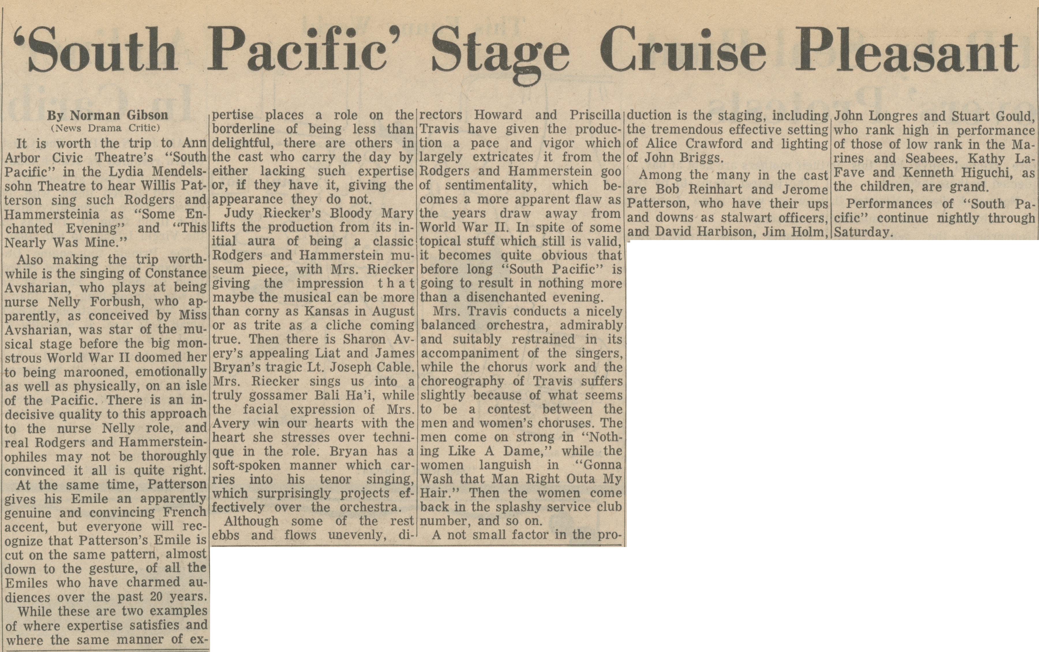'South Pacific' Stage Cruise Pleasant image