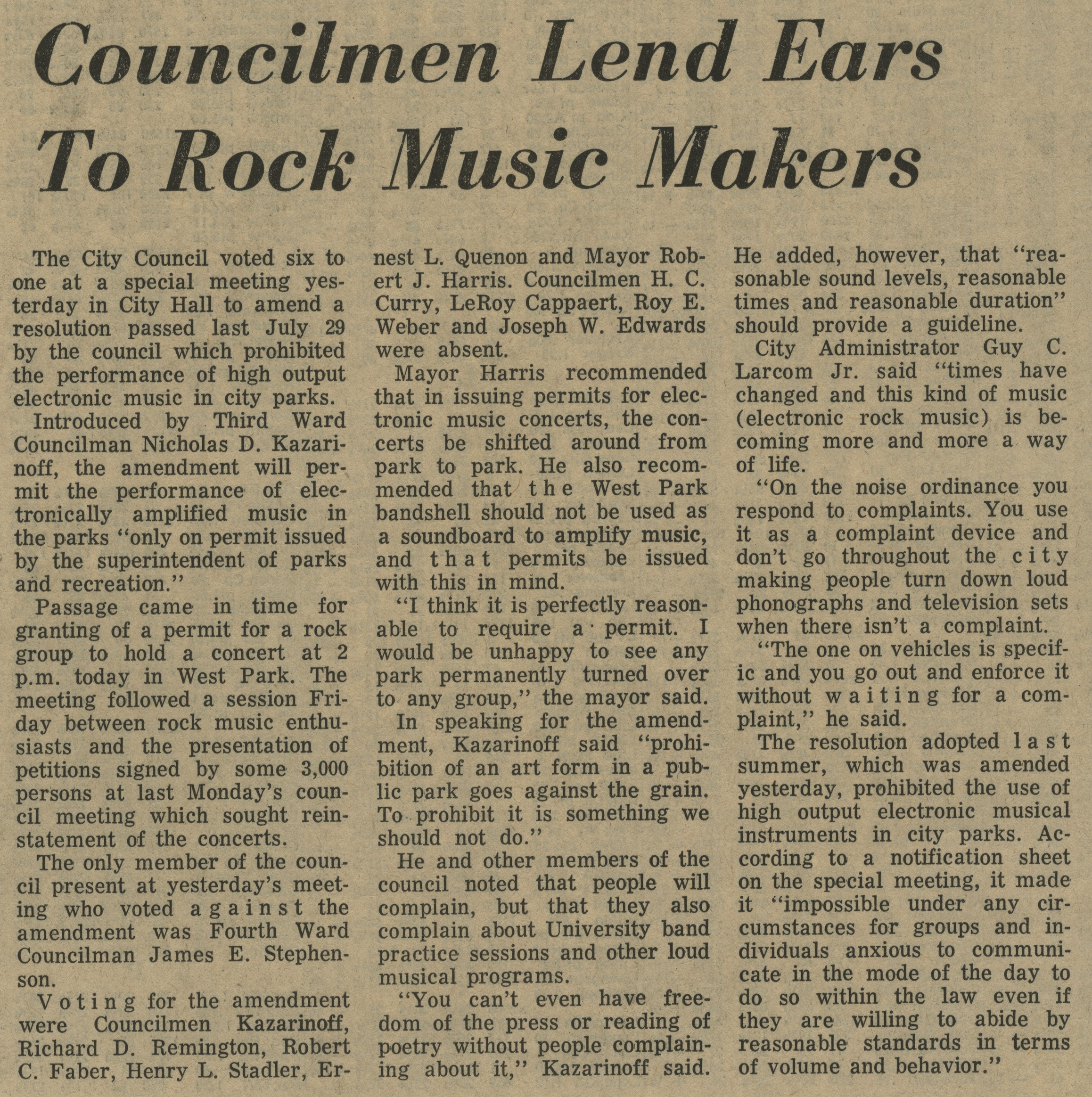 Councilmen Lend Ears To Rock Music Makers image