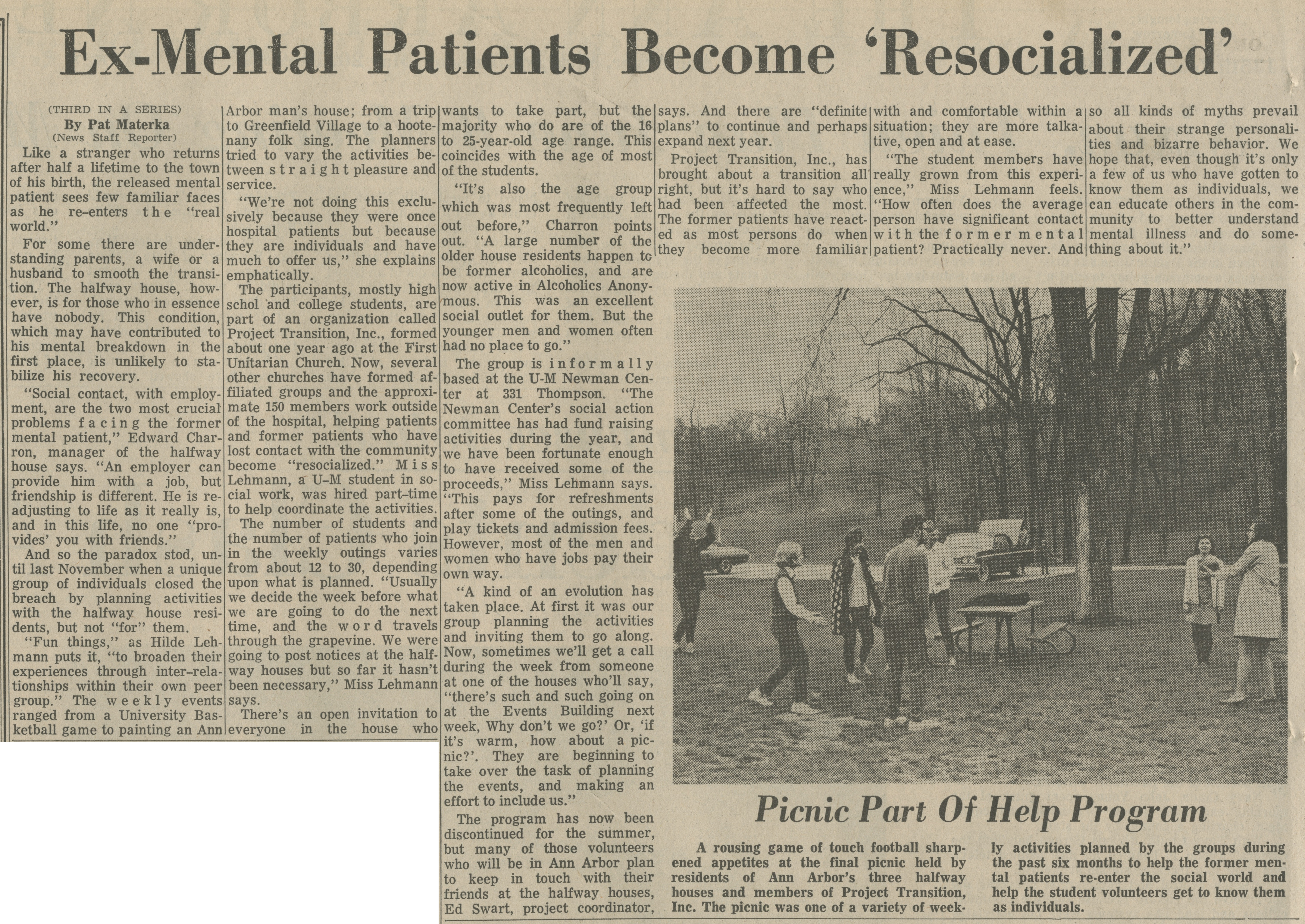 Ex-Mental Patients Become 'Resocialized' image
