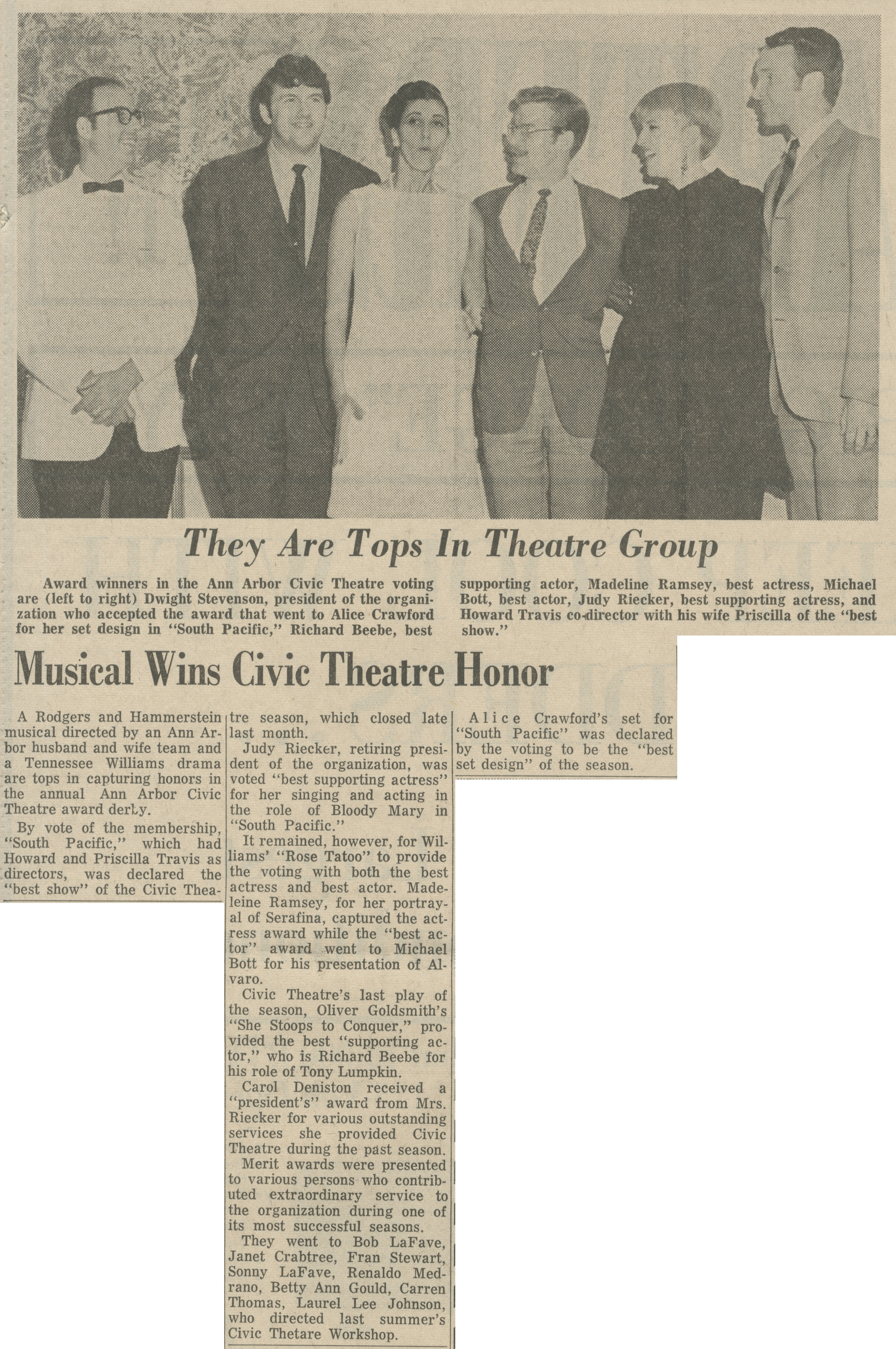 Musical Wins Civic Theatre Honor image