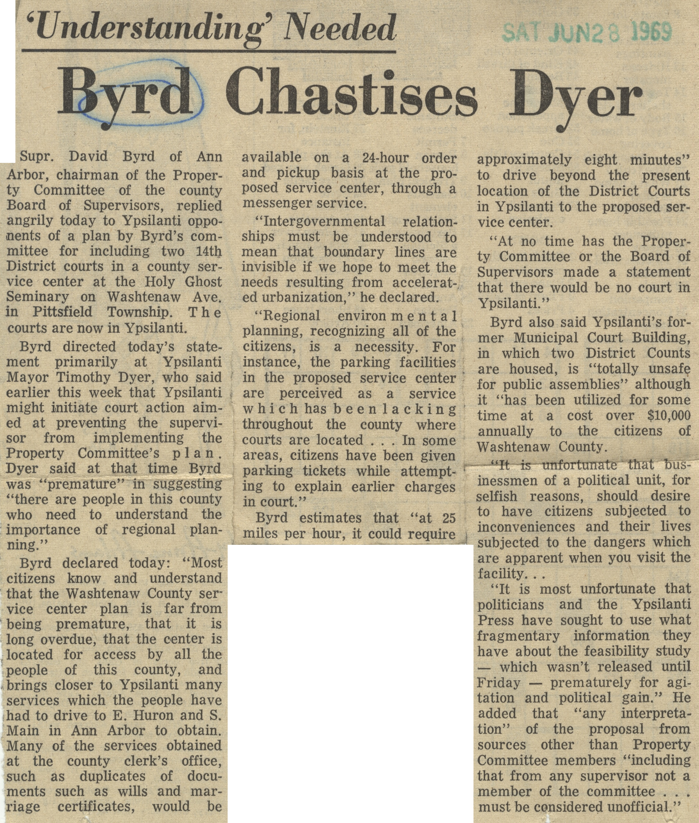 'Understanding' Needed: Byrd Chastises Dyer image