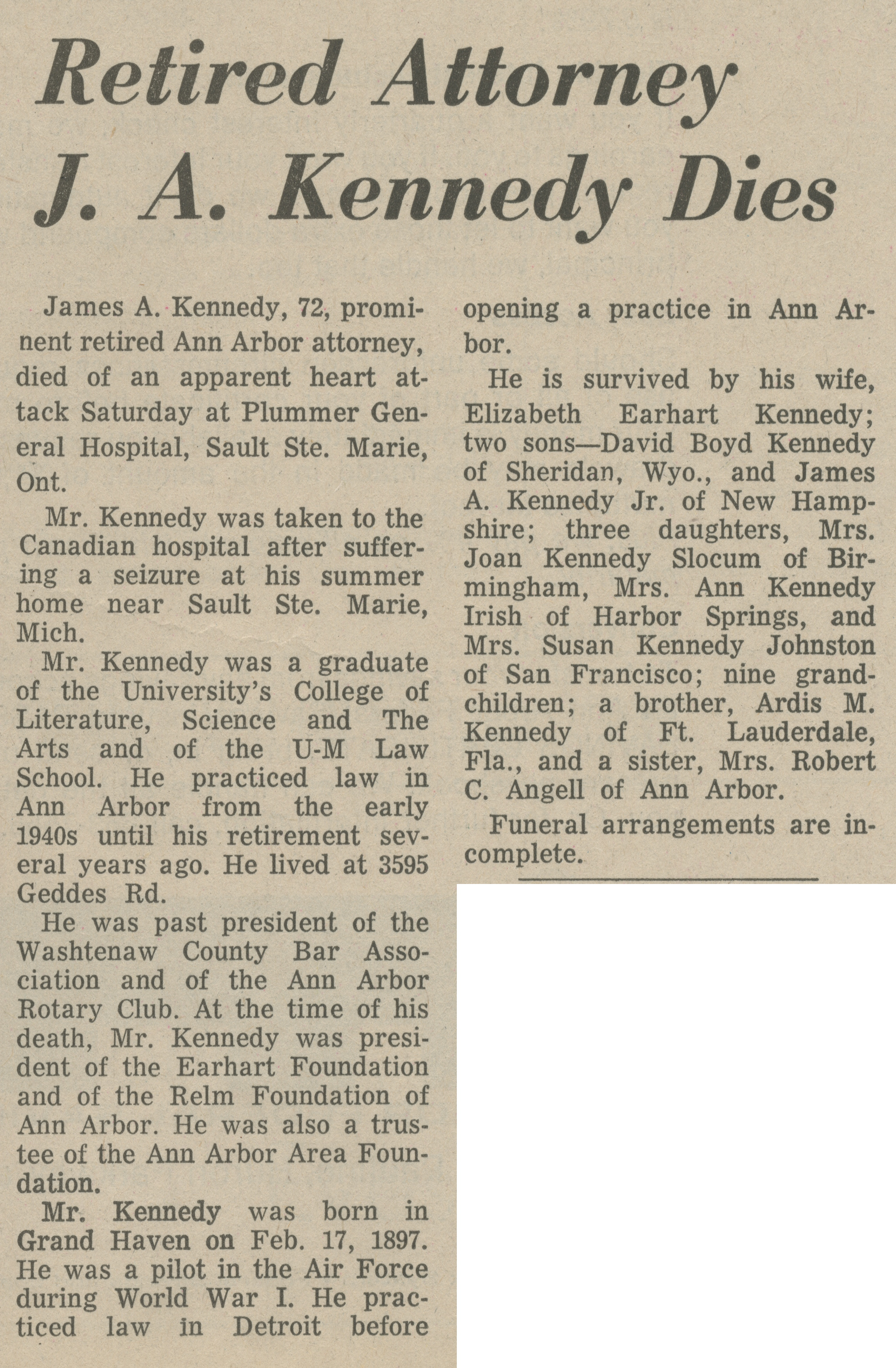 Retired Attorney J. A. Kennedy Dies image