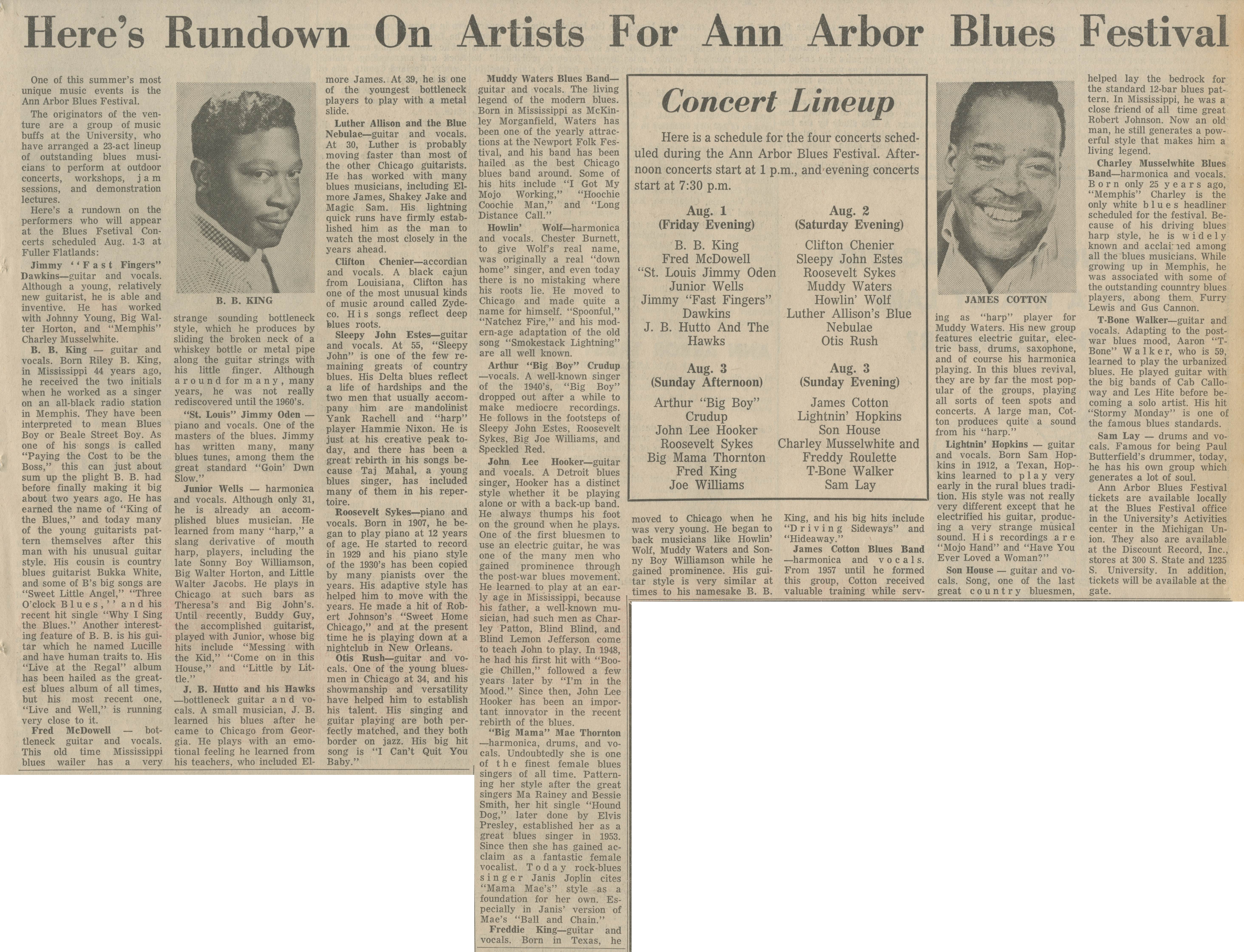 Here's Rundown On Artists For Ann Arbor Blues Festival image