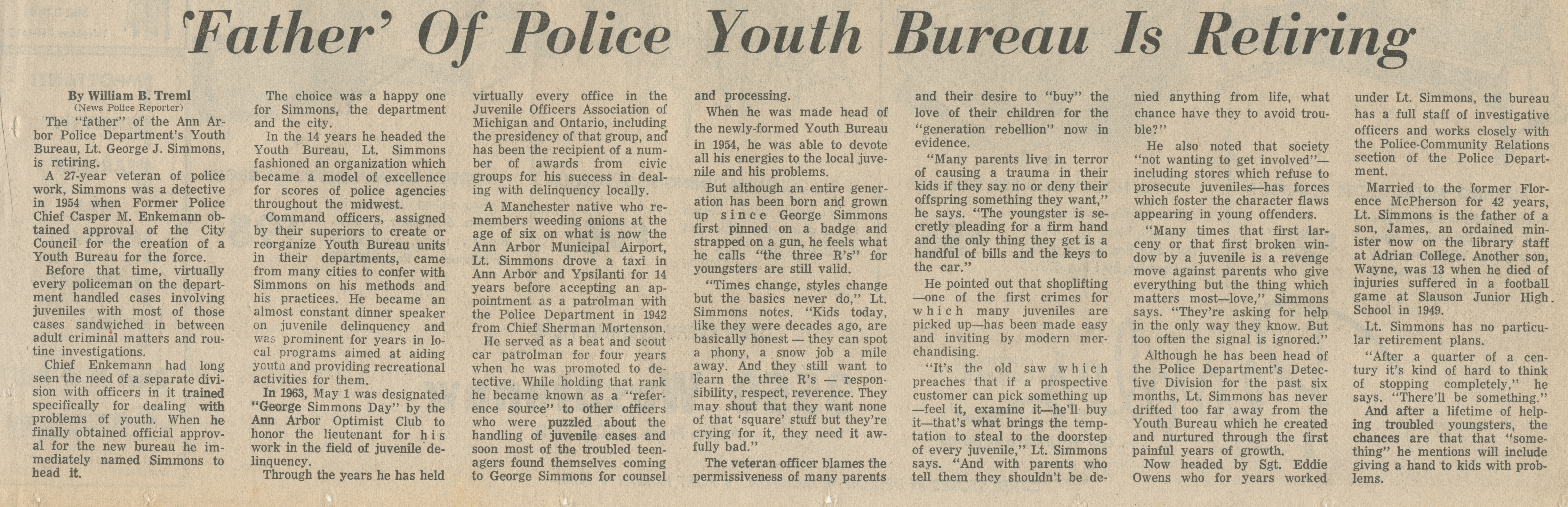 'Father' Of Police Youth Bureau Is Retiring image