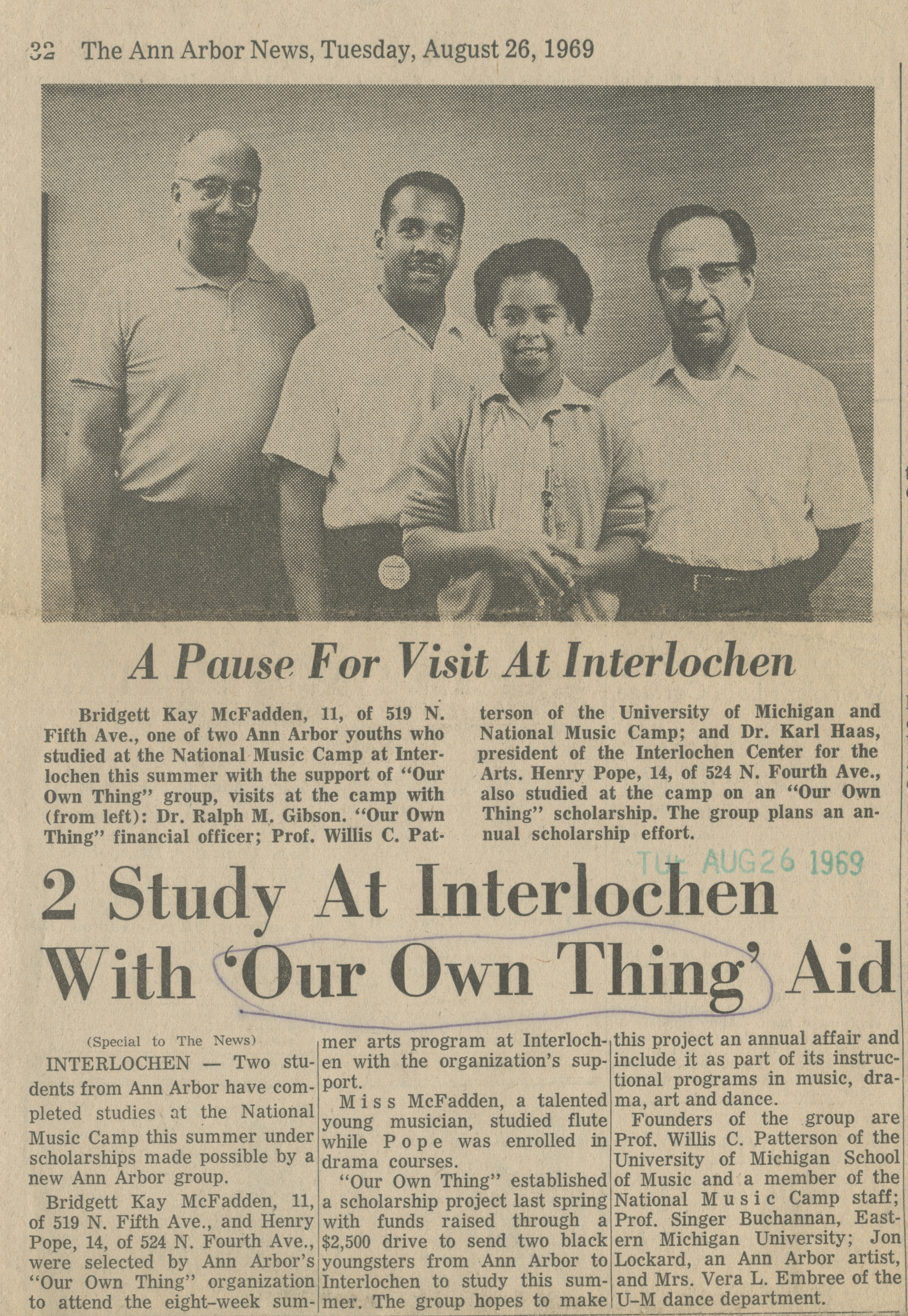 2 Study At Interlochen With 'Our Own Thing' Aid image