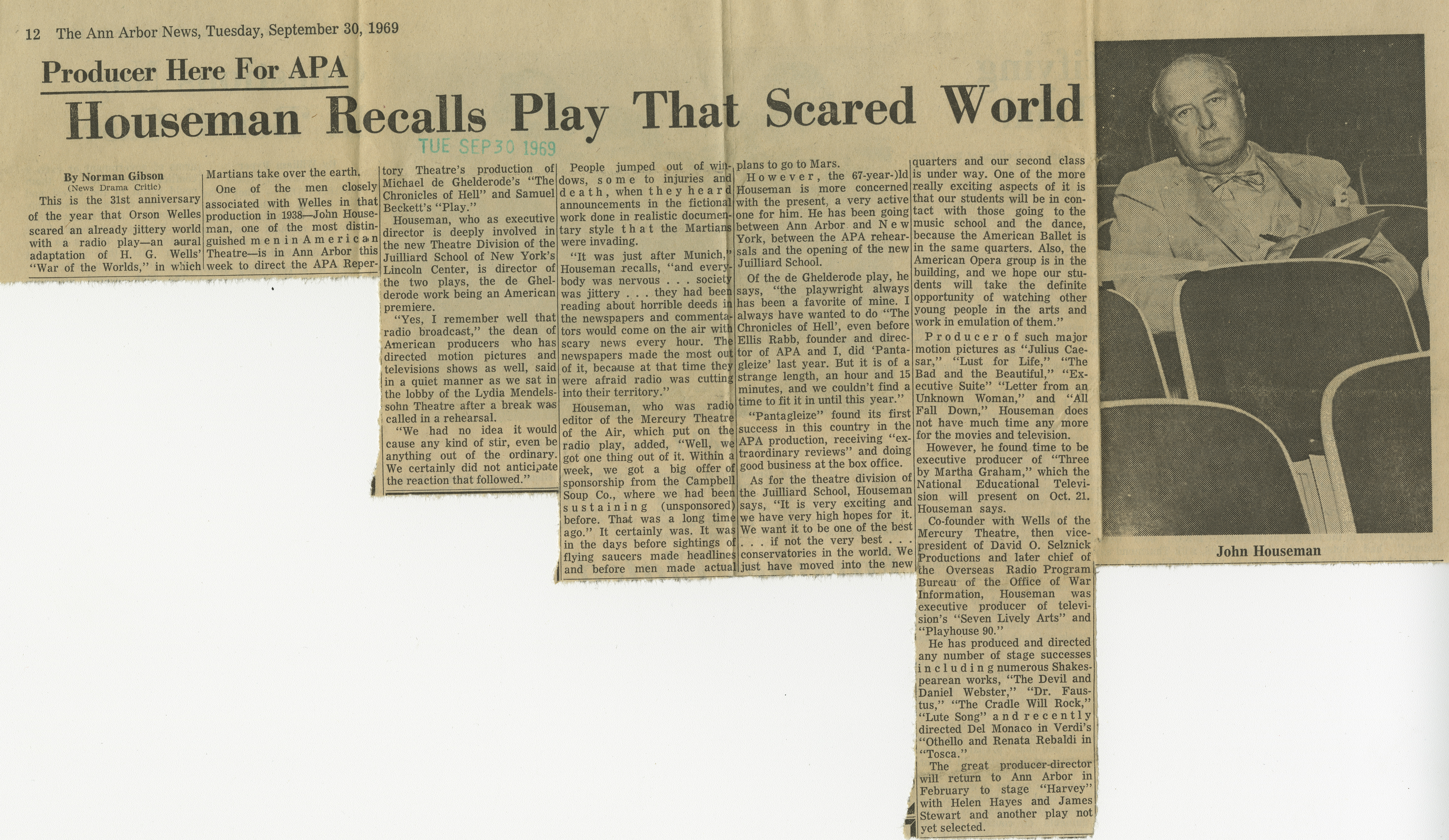 Houseman Recalls Play That Scared World image