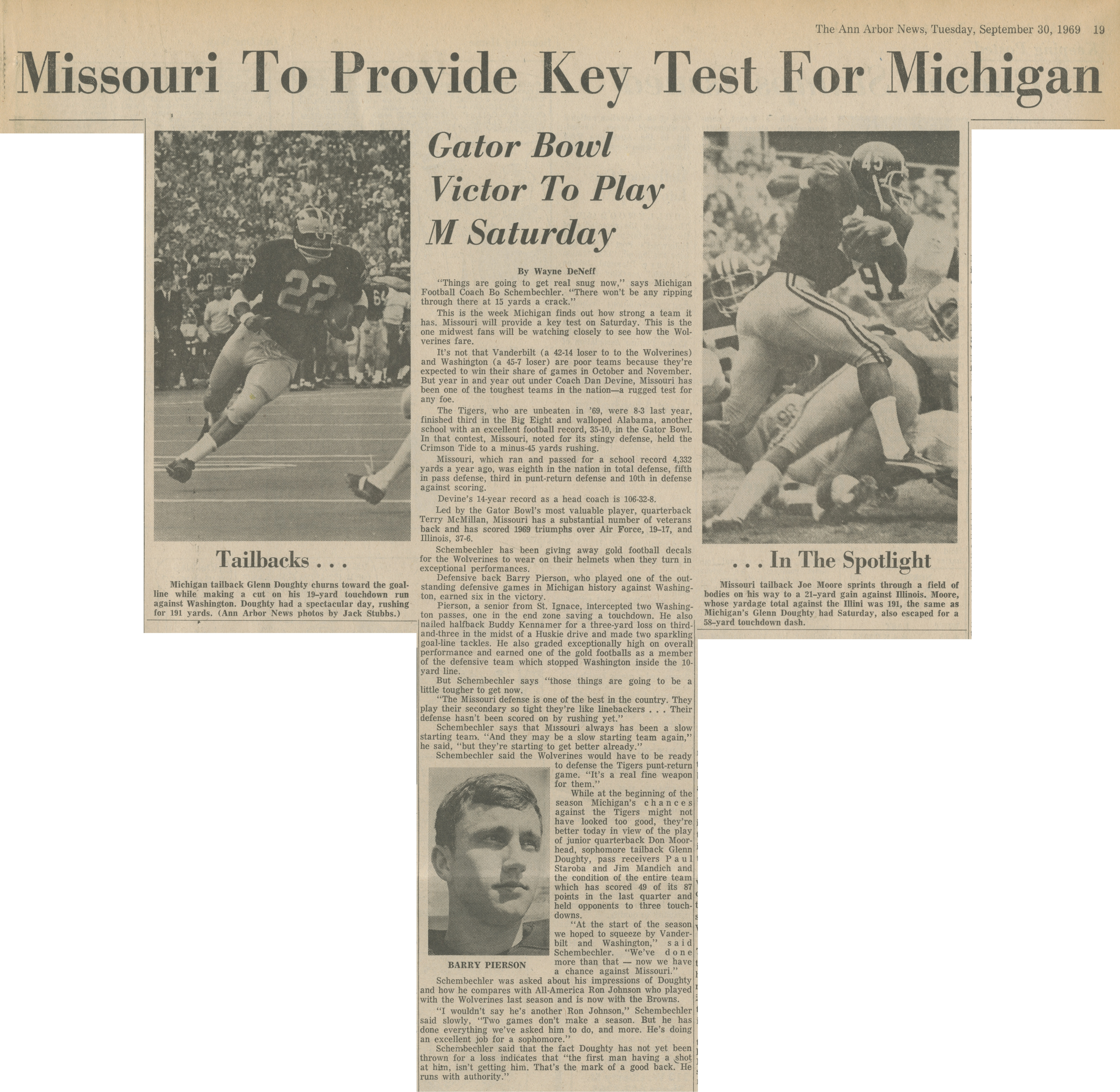 Missouri To Provide Key Test For Michigan image