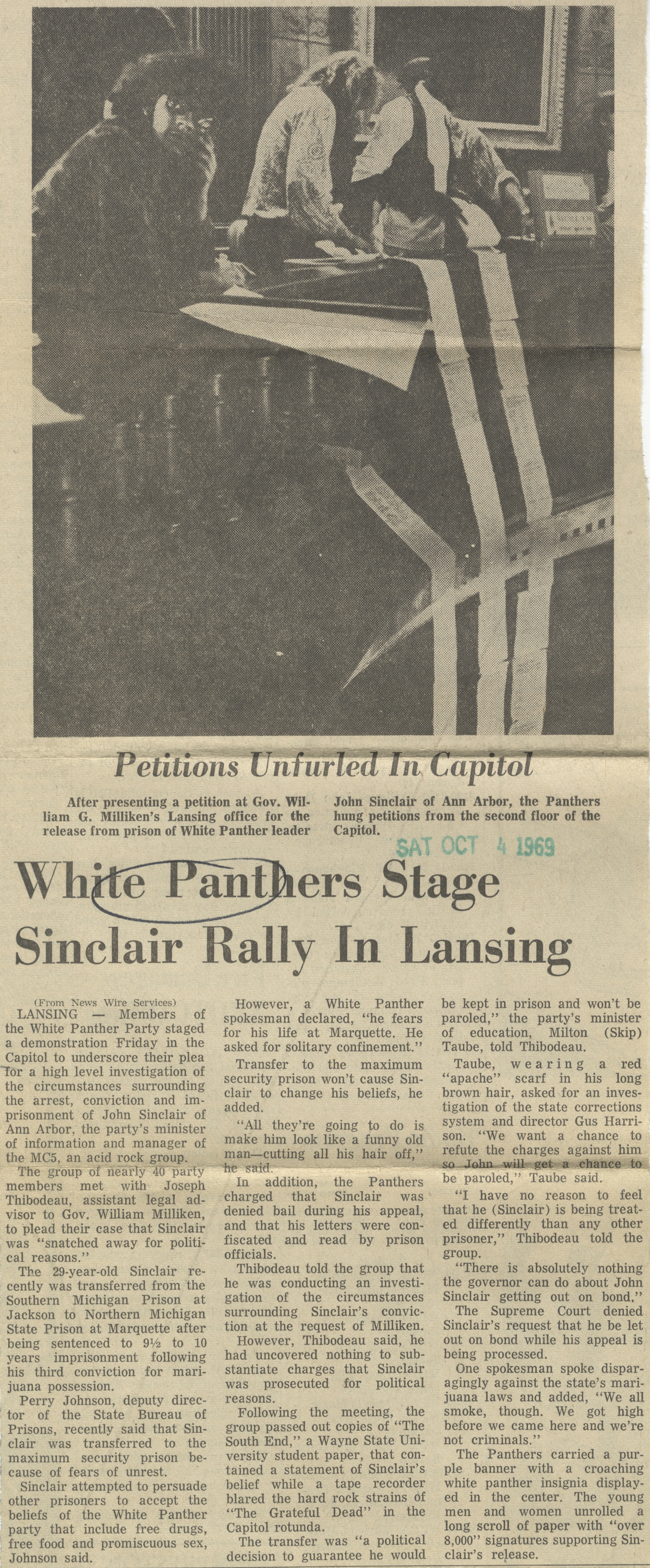 White Panthers Stage Sinclair Rally In Lansing image