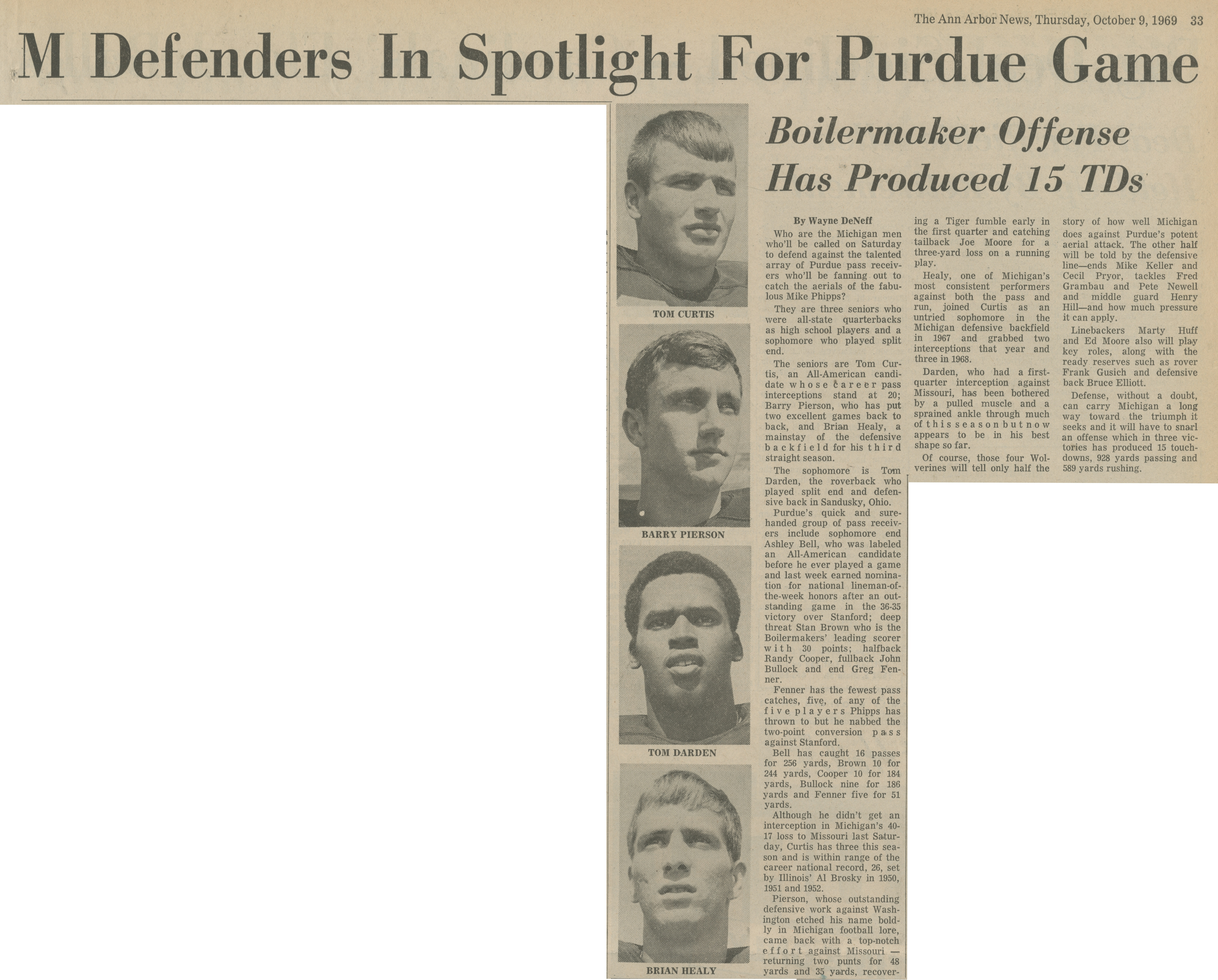 M Defenders In Spotlight For Purdue Game image