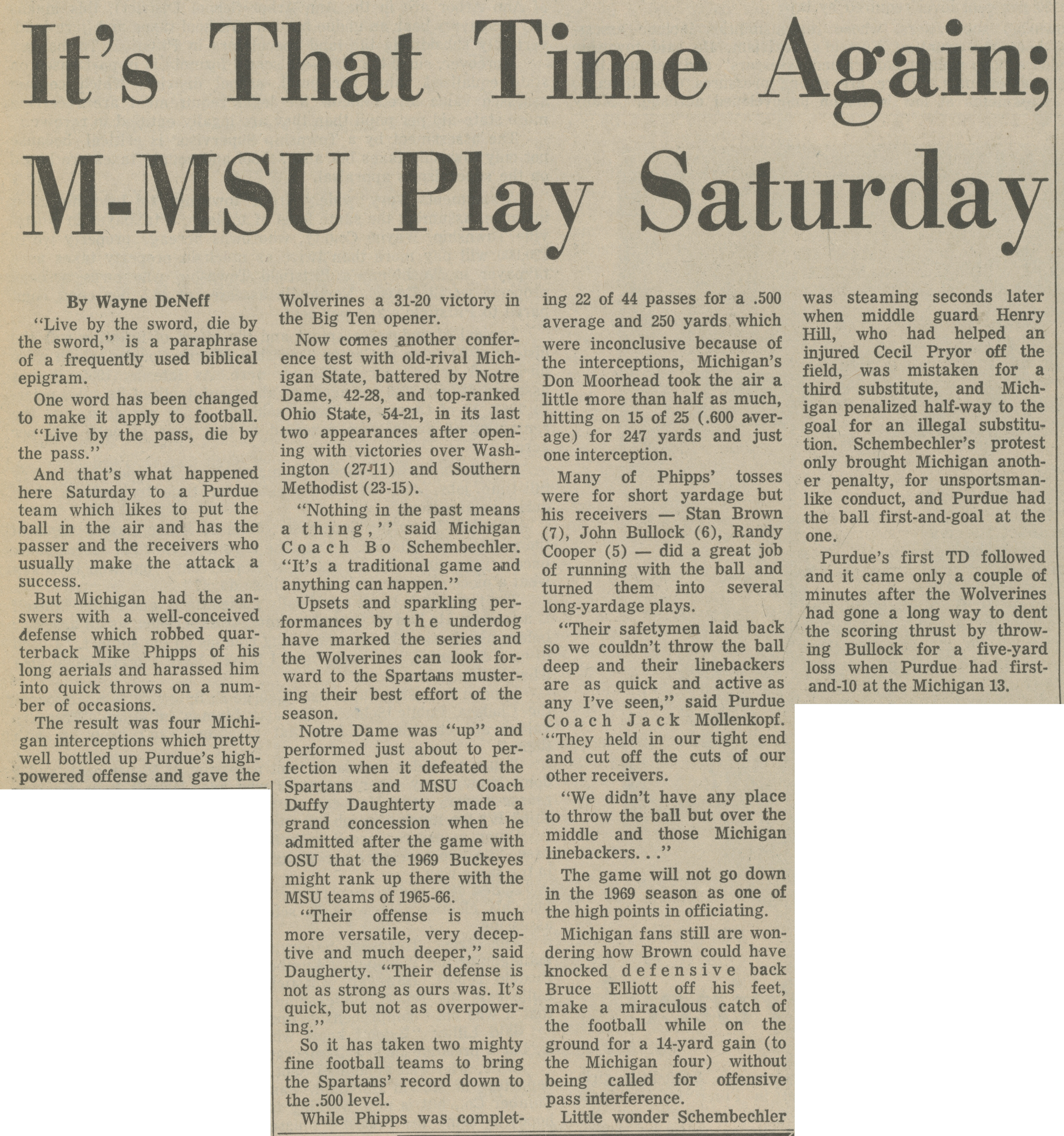 It's That Time Again; M-MSU Play Saturday image