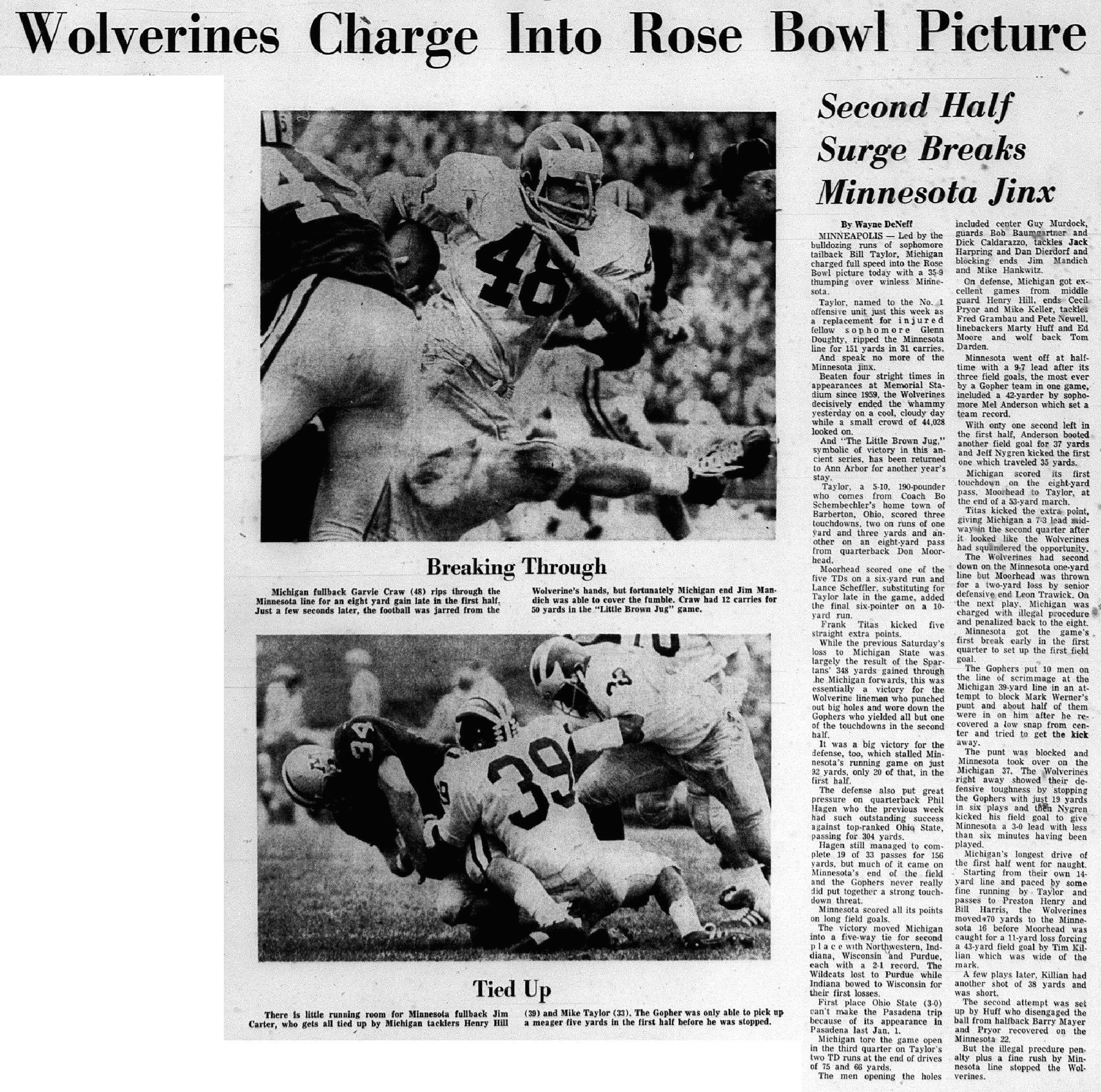 Wolverines Charge Into Rose Bowl Picture image