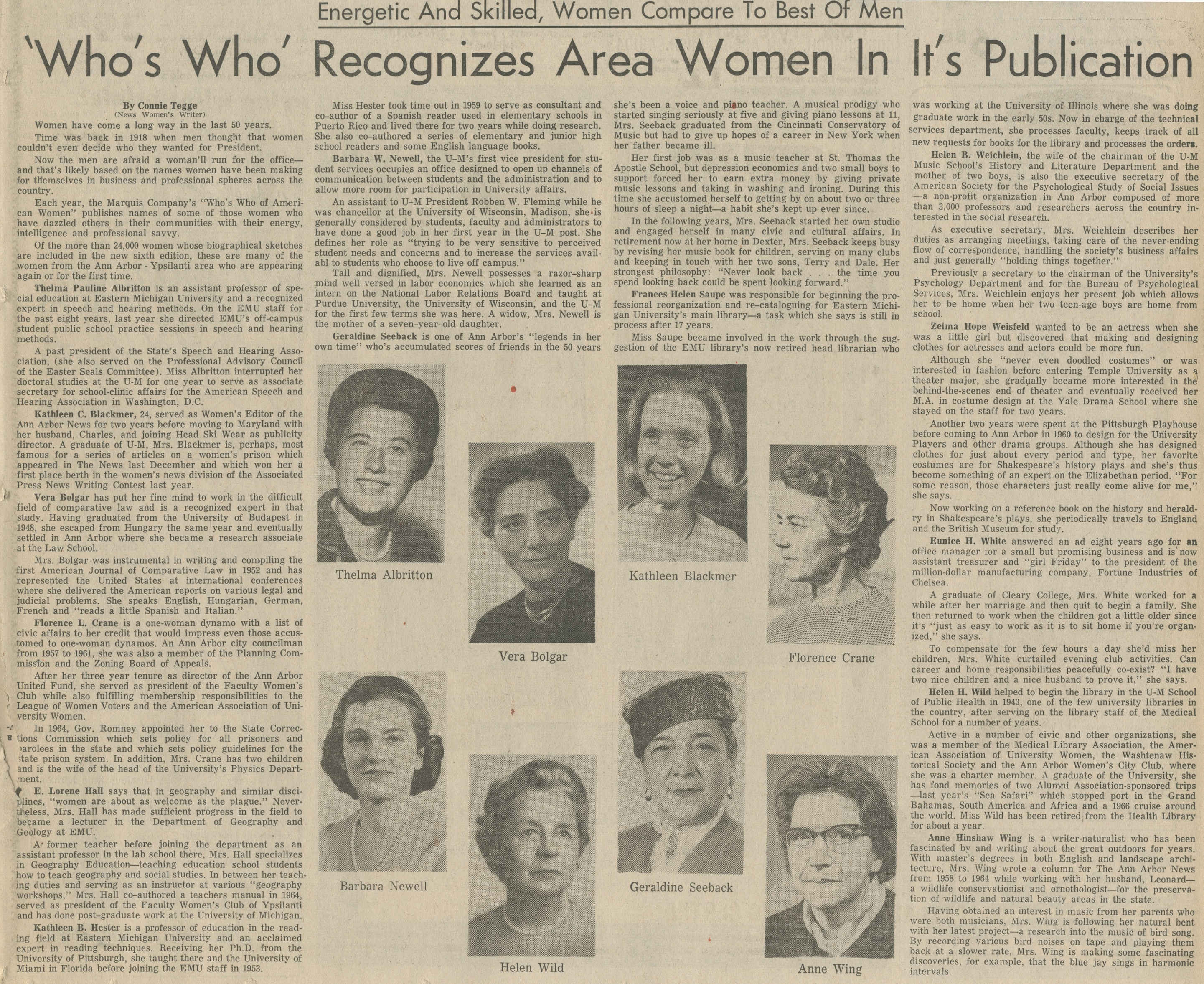 'Who's Who' Recognizes Area Women In It's Publication - Energetic And Skilled, Women Compare To Best Of Men image