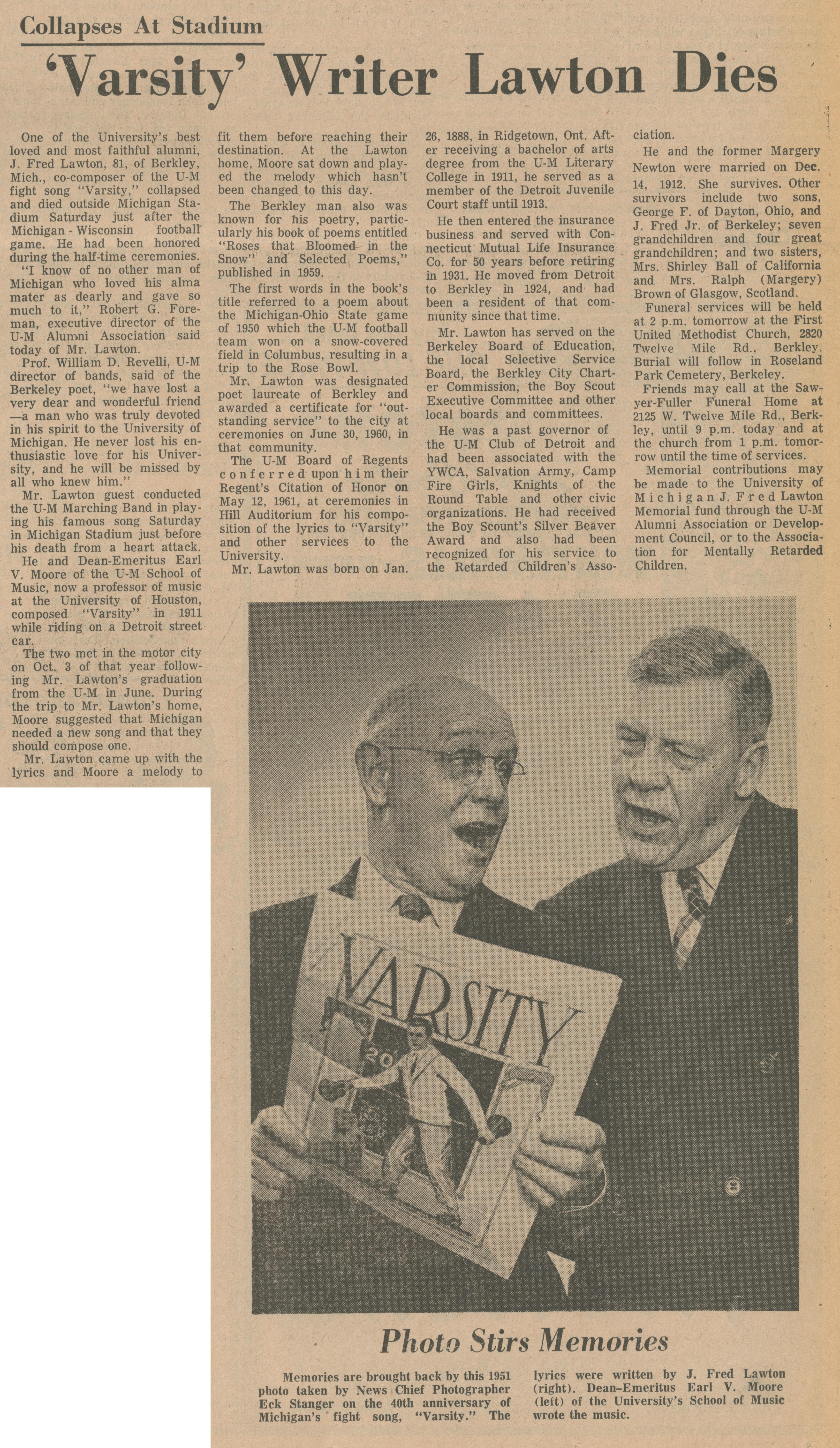 Varsity' Writer Lawton Dies | Ann Arbor District Library