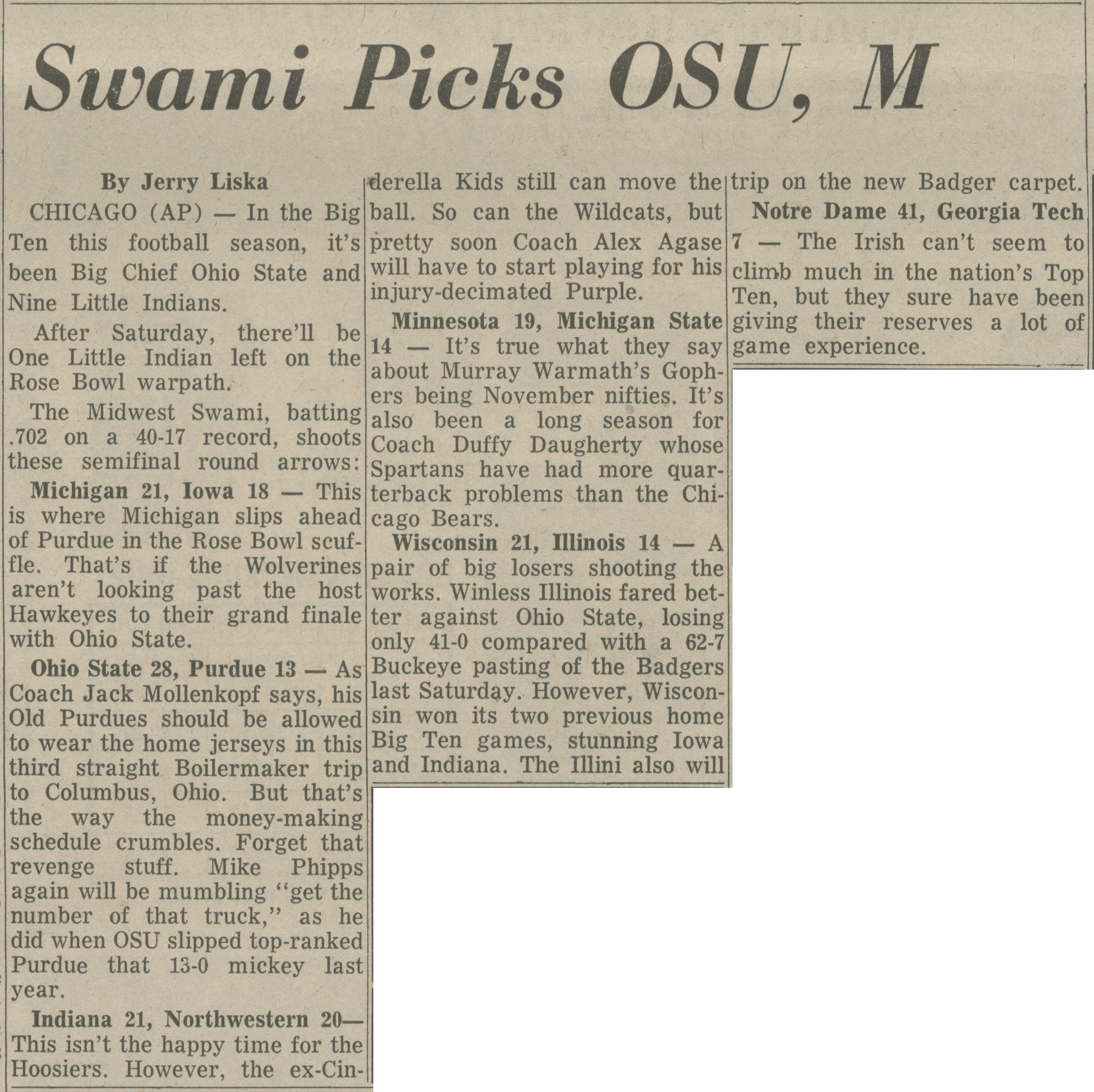 Swami Picks OSU, M image