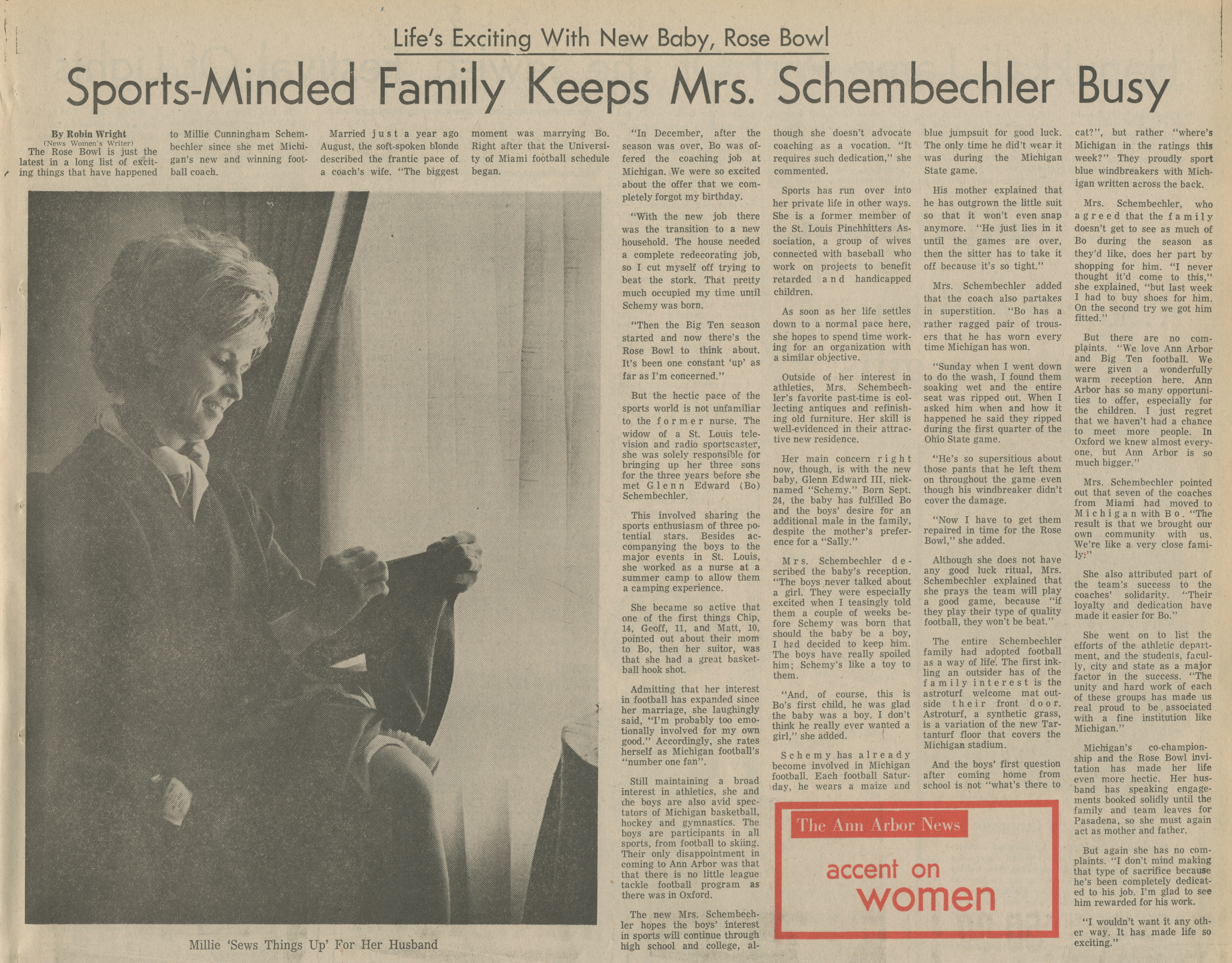 Sports-Minded Family Keeps Mrs. Schembechler Busy image