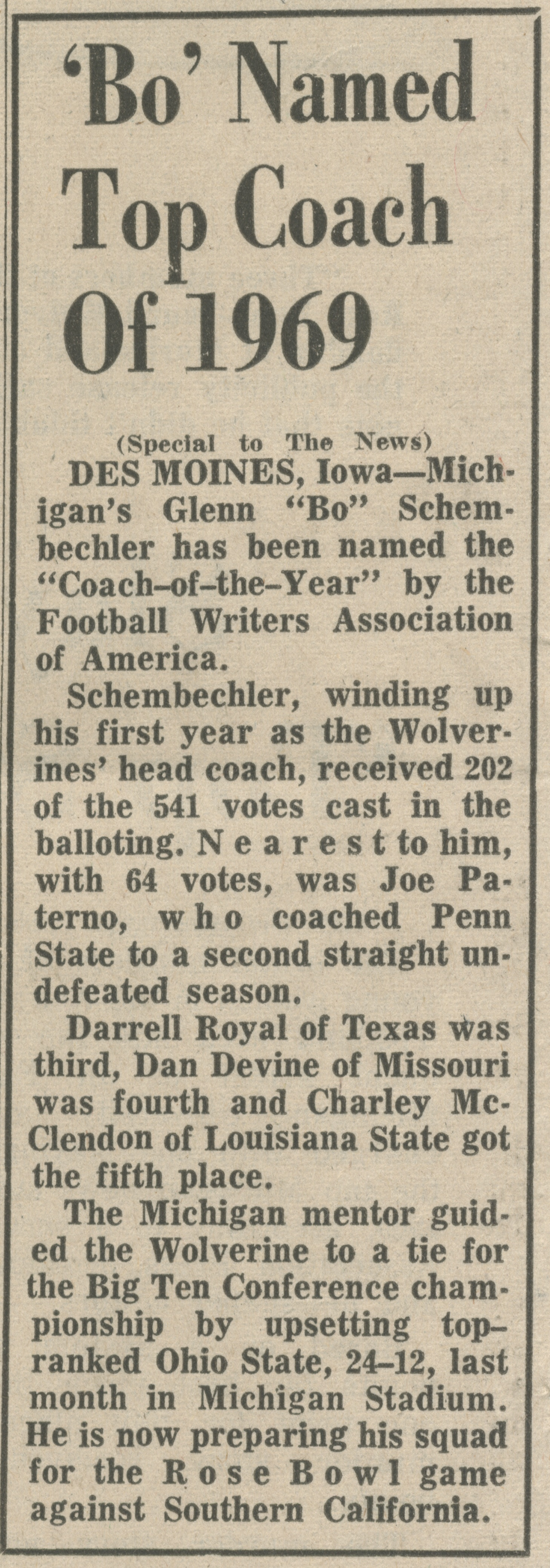 'Bo' Named Top Coach Of 1969 image