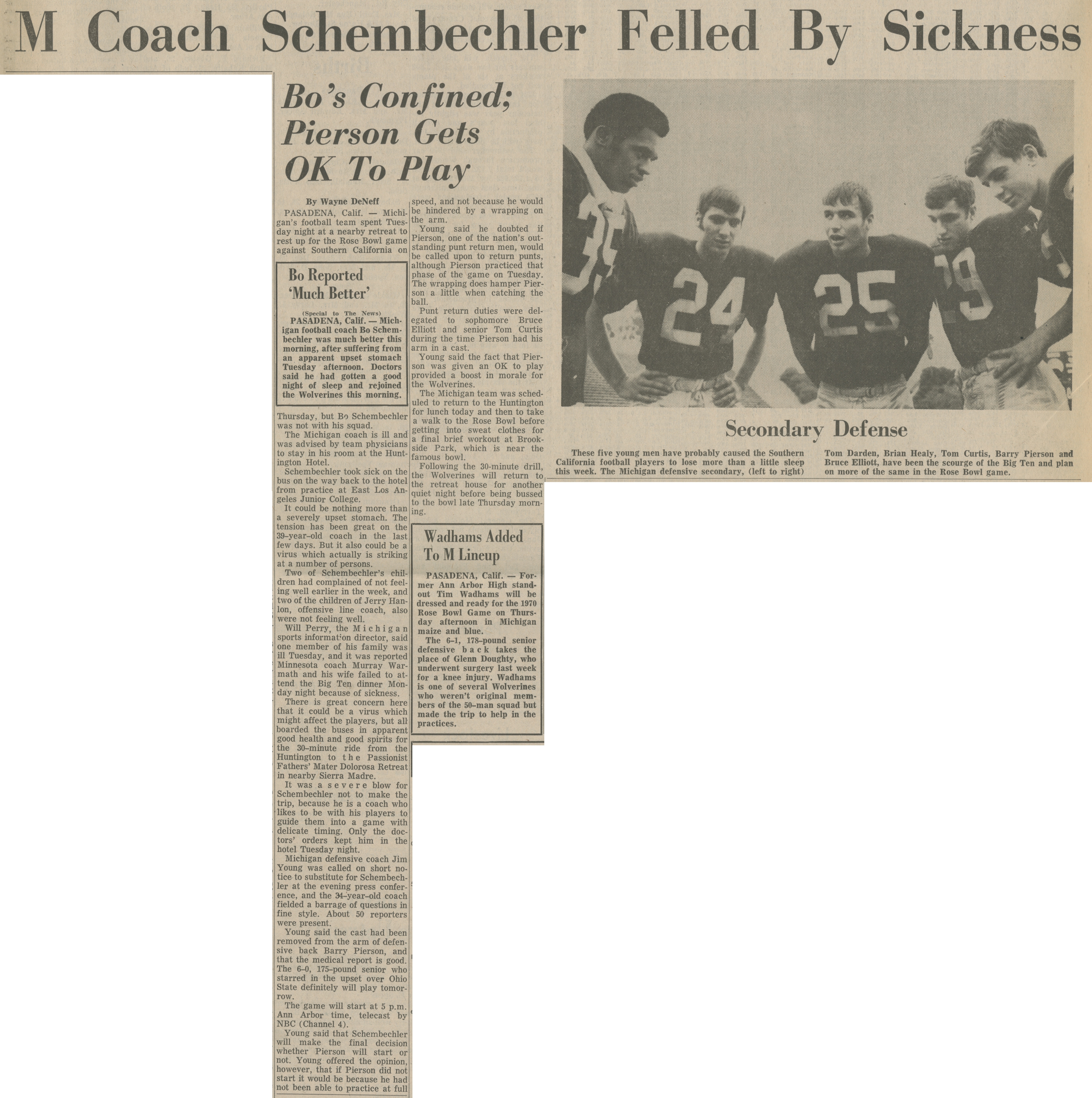 M Coach Schembechler Felled By Sickness image