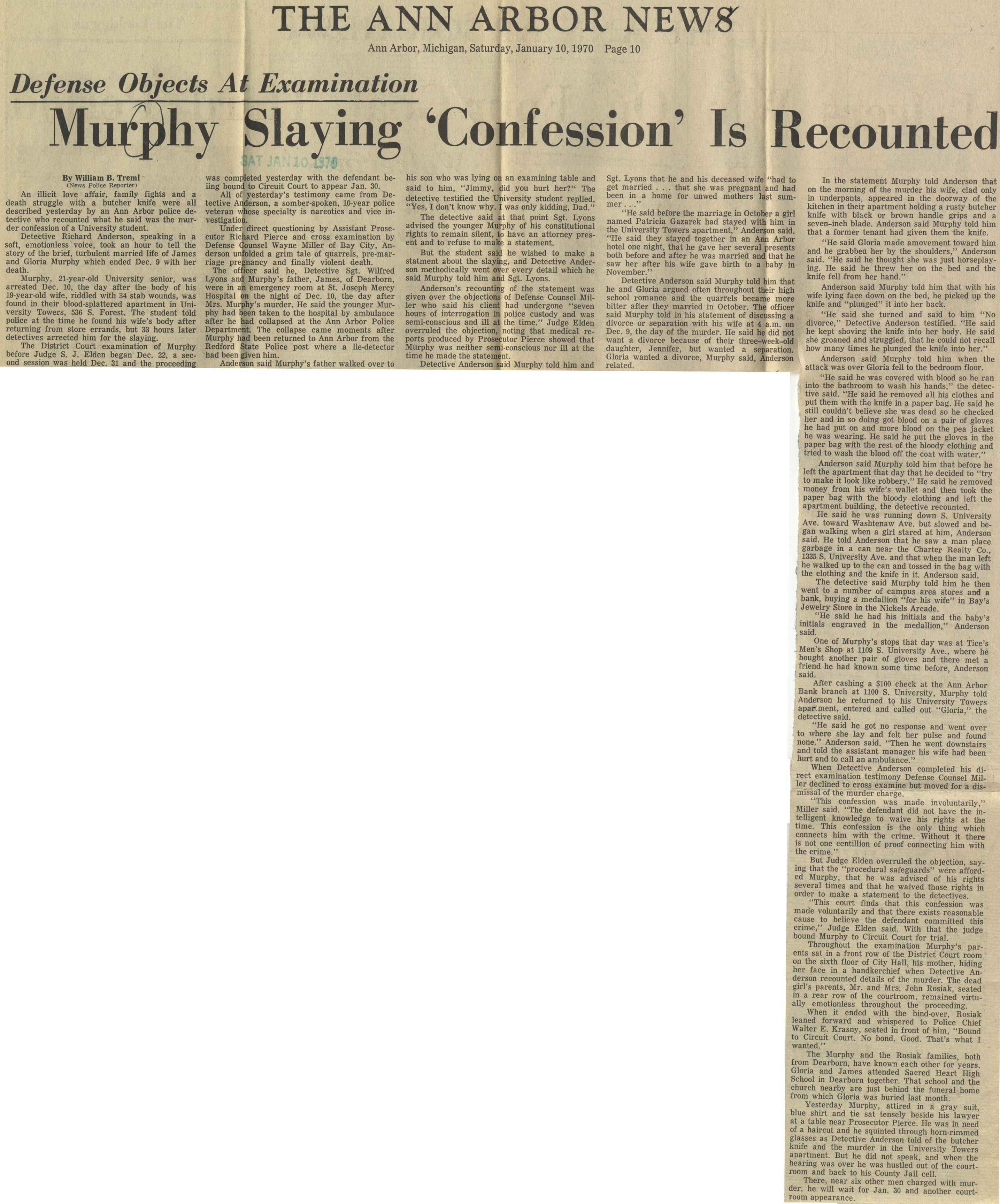 Murphy Slaying Confession Is Recounted image