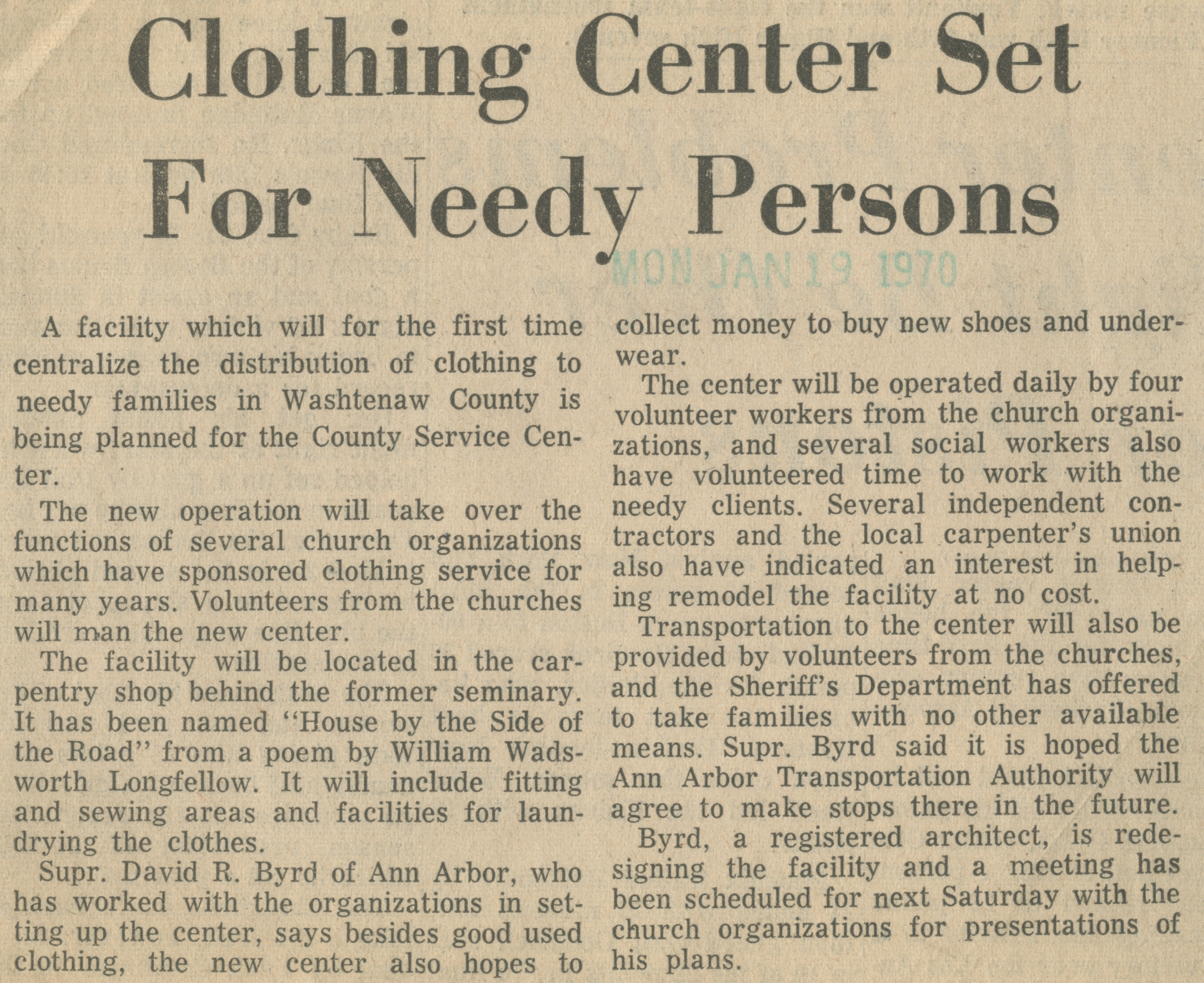 Clothing Center Set For Needy Persons image