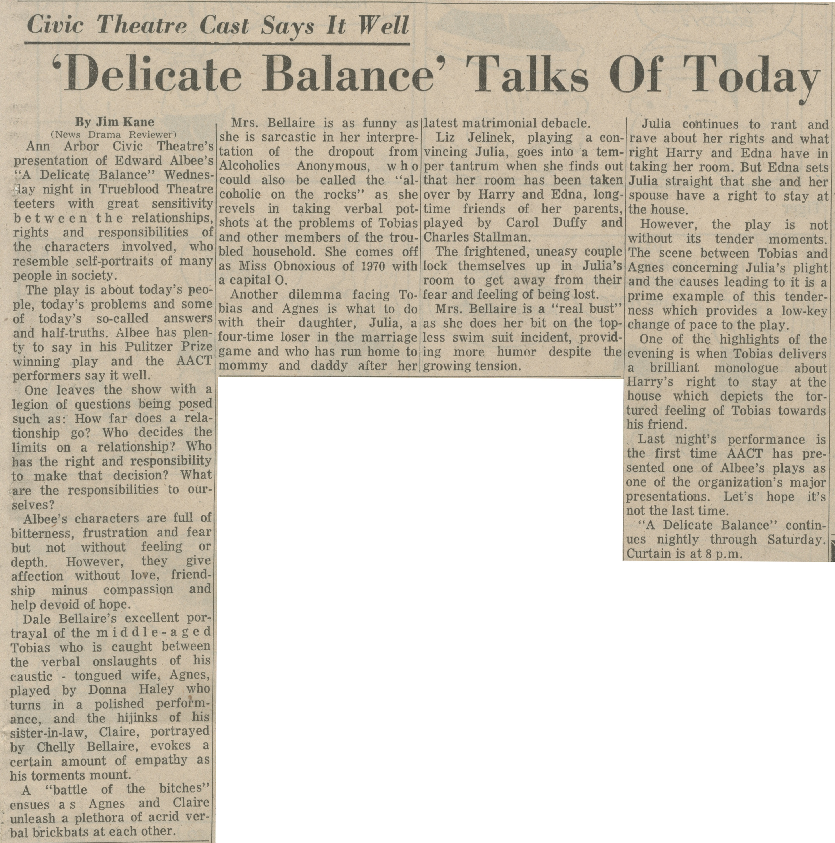 'Delicate Balance' Talks Of Today image