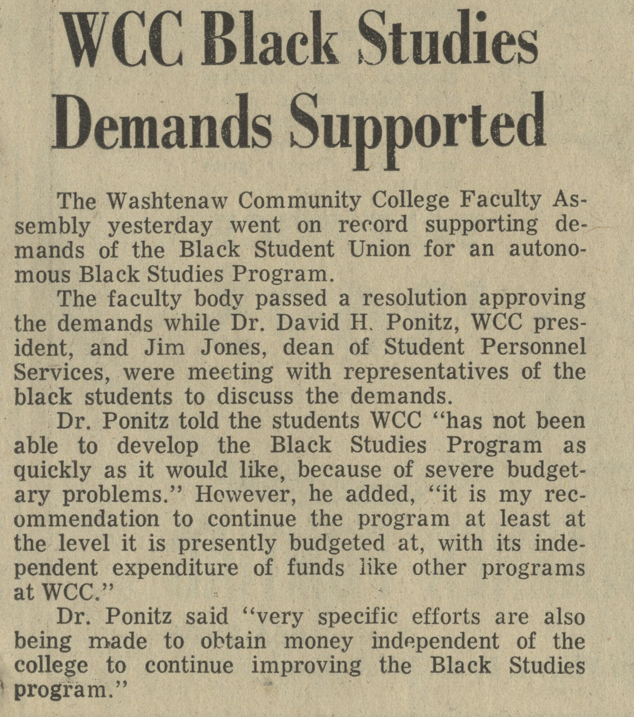 WCC Black Studies Demands Supported image