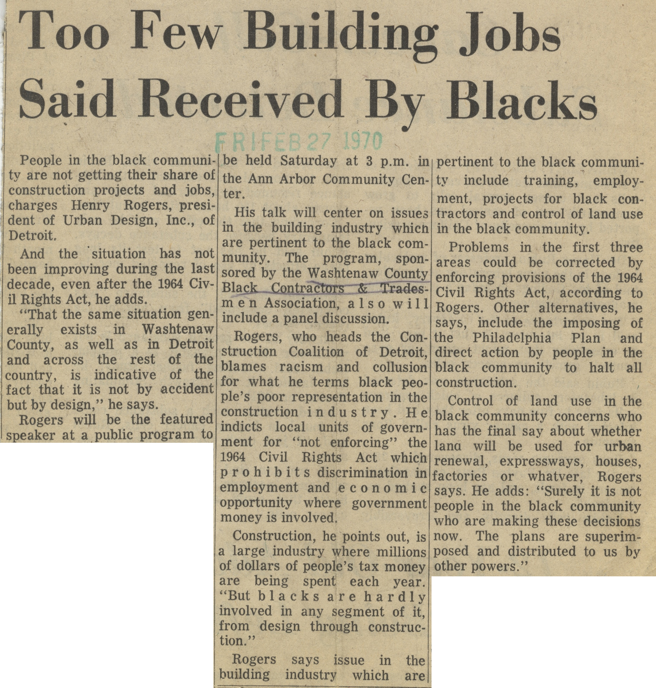 Too Few Building Jobs Said Received By Blacks image