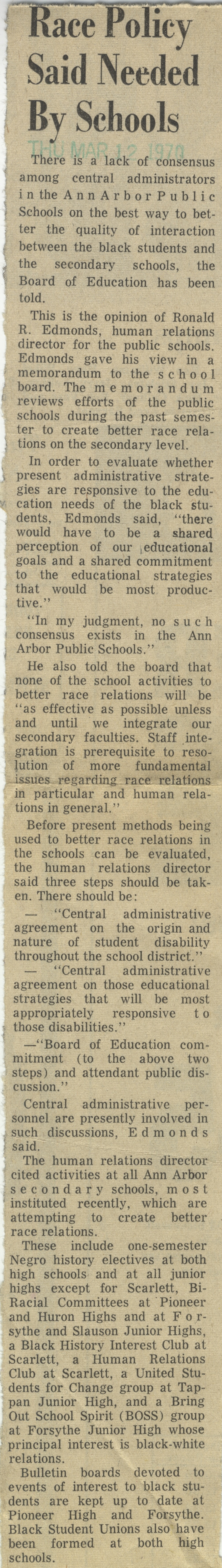 Race Policy Said Needed By Schools image