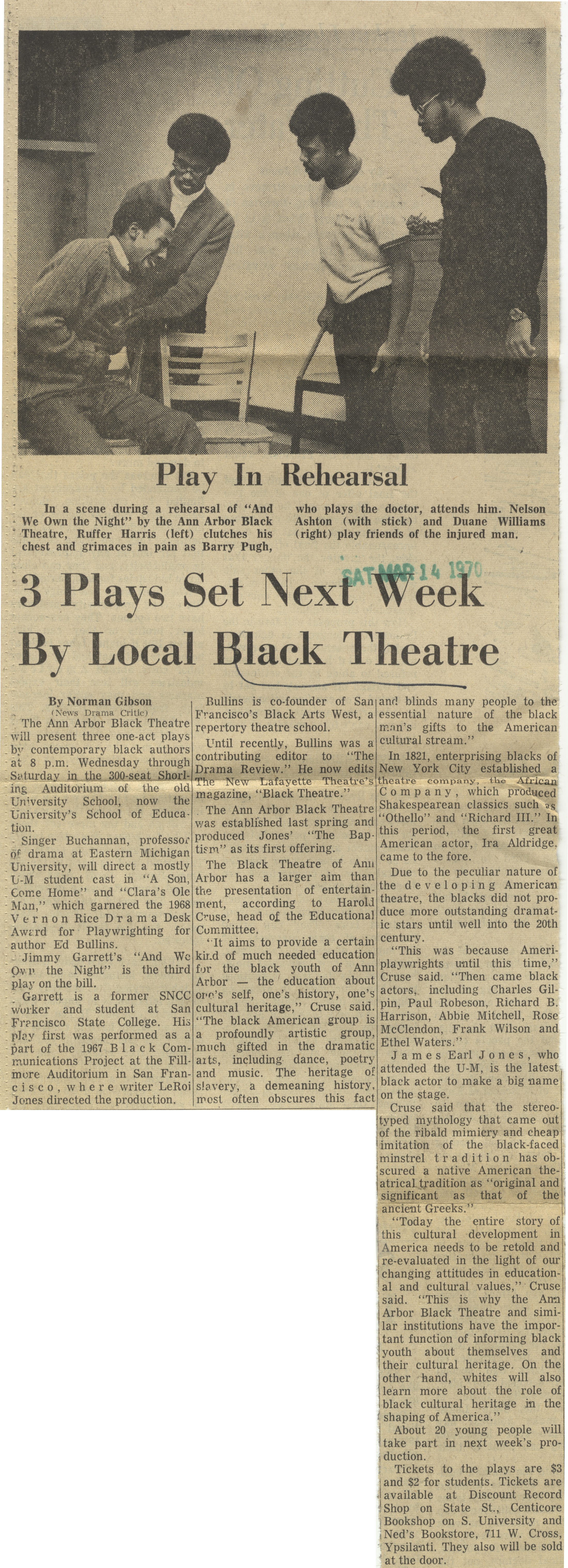 3 Plays Set Next Week By Local Black Theatre image