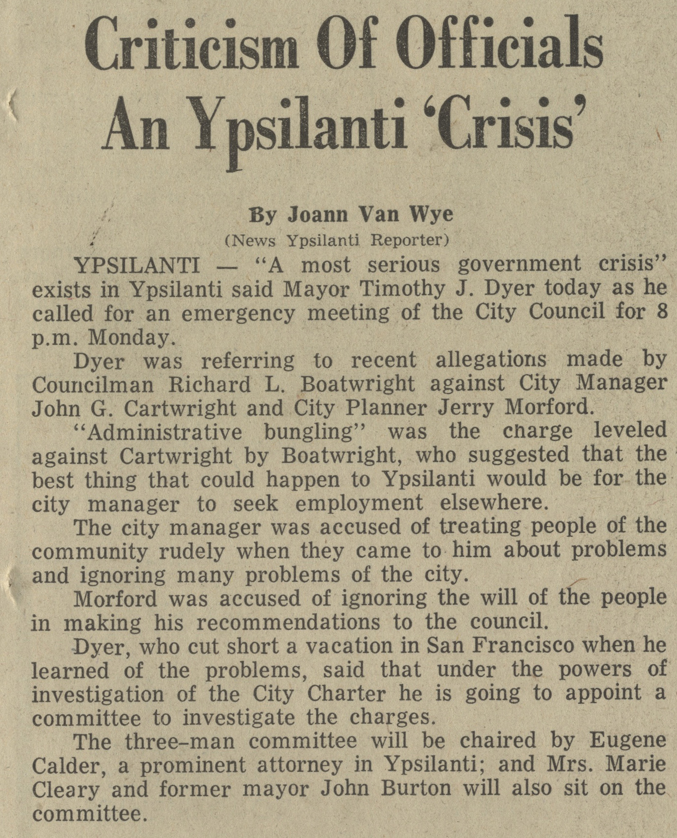 Criticism Of Officials An Ypsilanti ' Crisis'  image