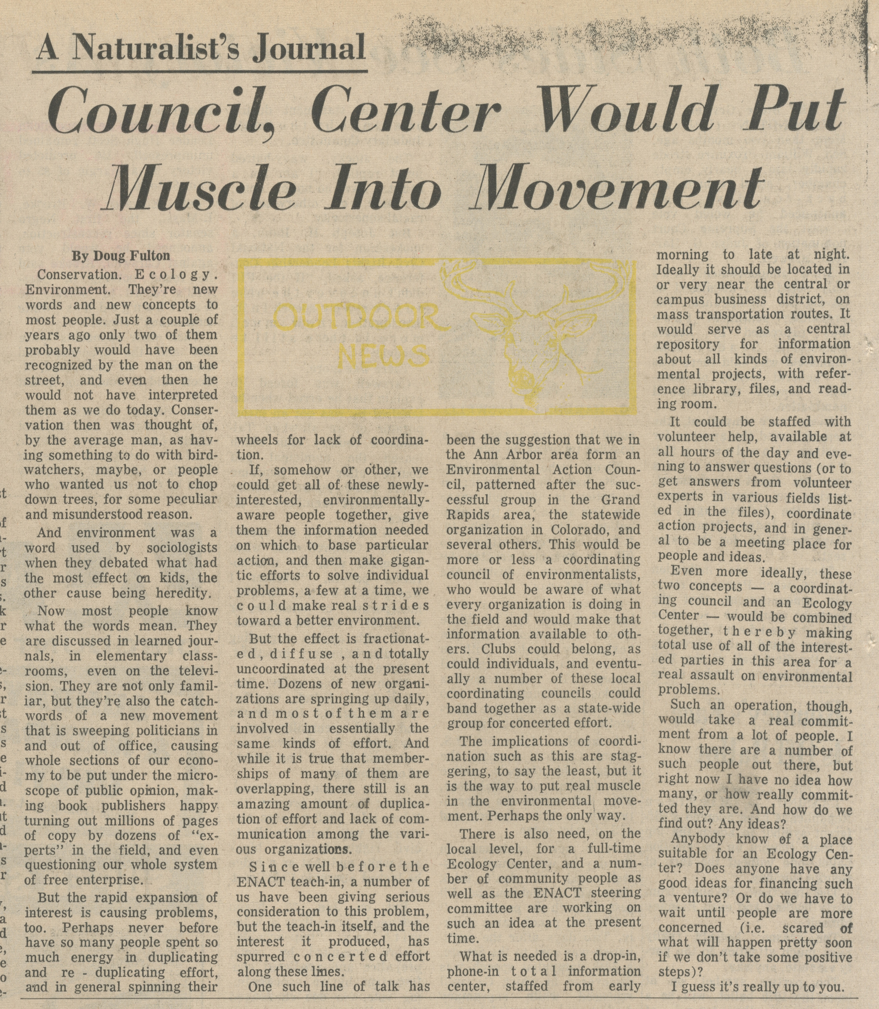 Council, Center Would Put Muscle Into Movement - A Naturalist's Journal image