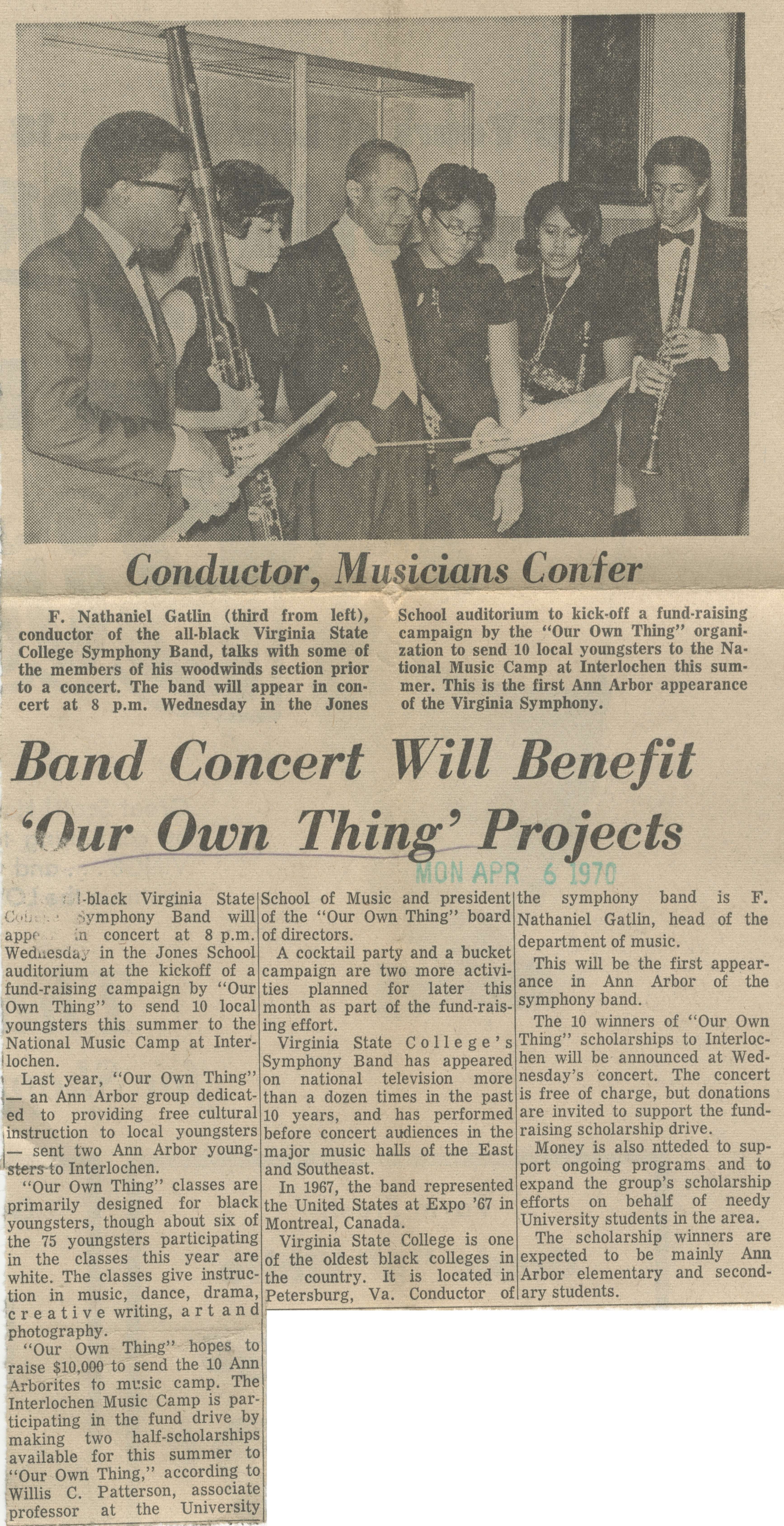Band Concert Will Benefit 'Our Own Thing' Projects image