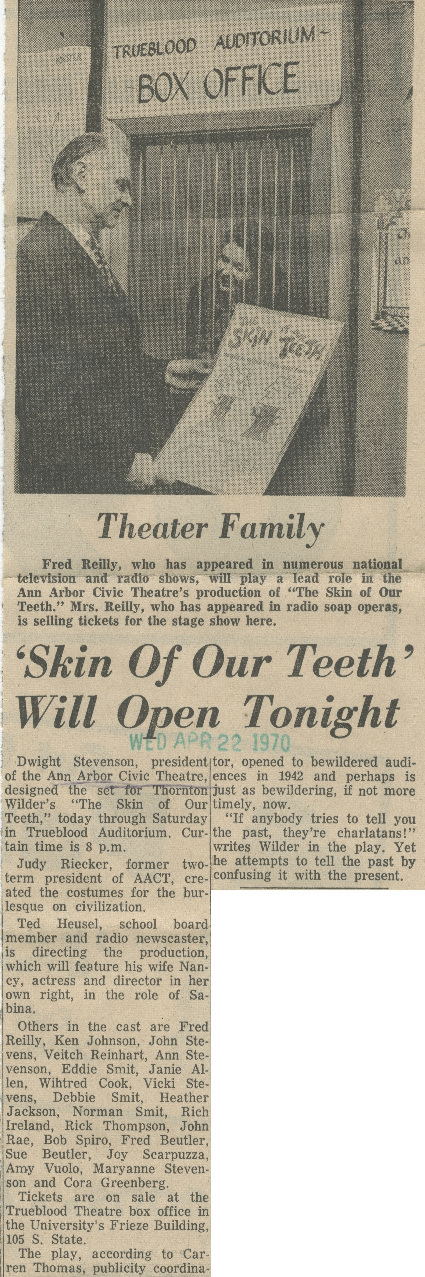 'Skin Of Our Teeth' Will Open Tonight image