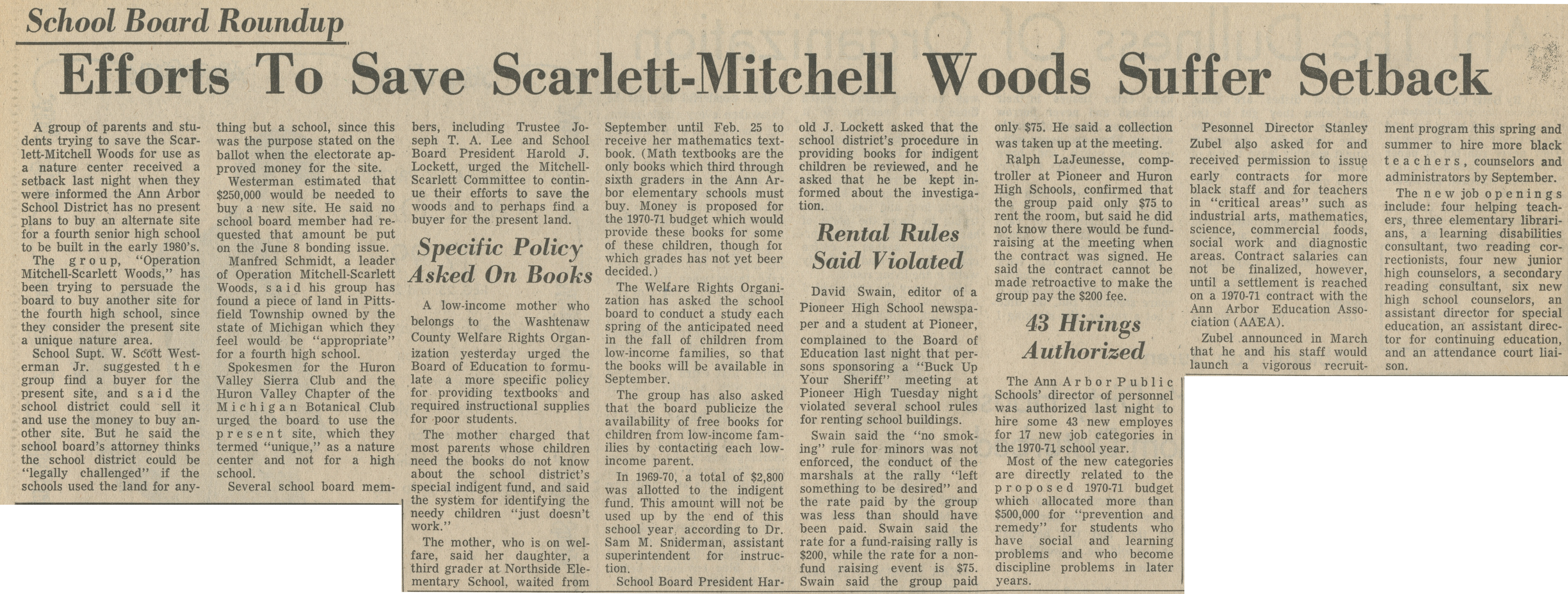 School Board Roundup ~ Efforts To Save Scarlett-Mitchell Woods Suffer Setback image