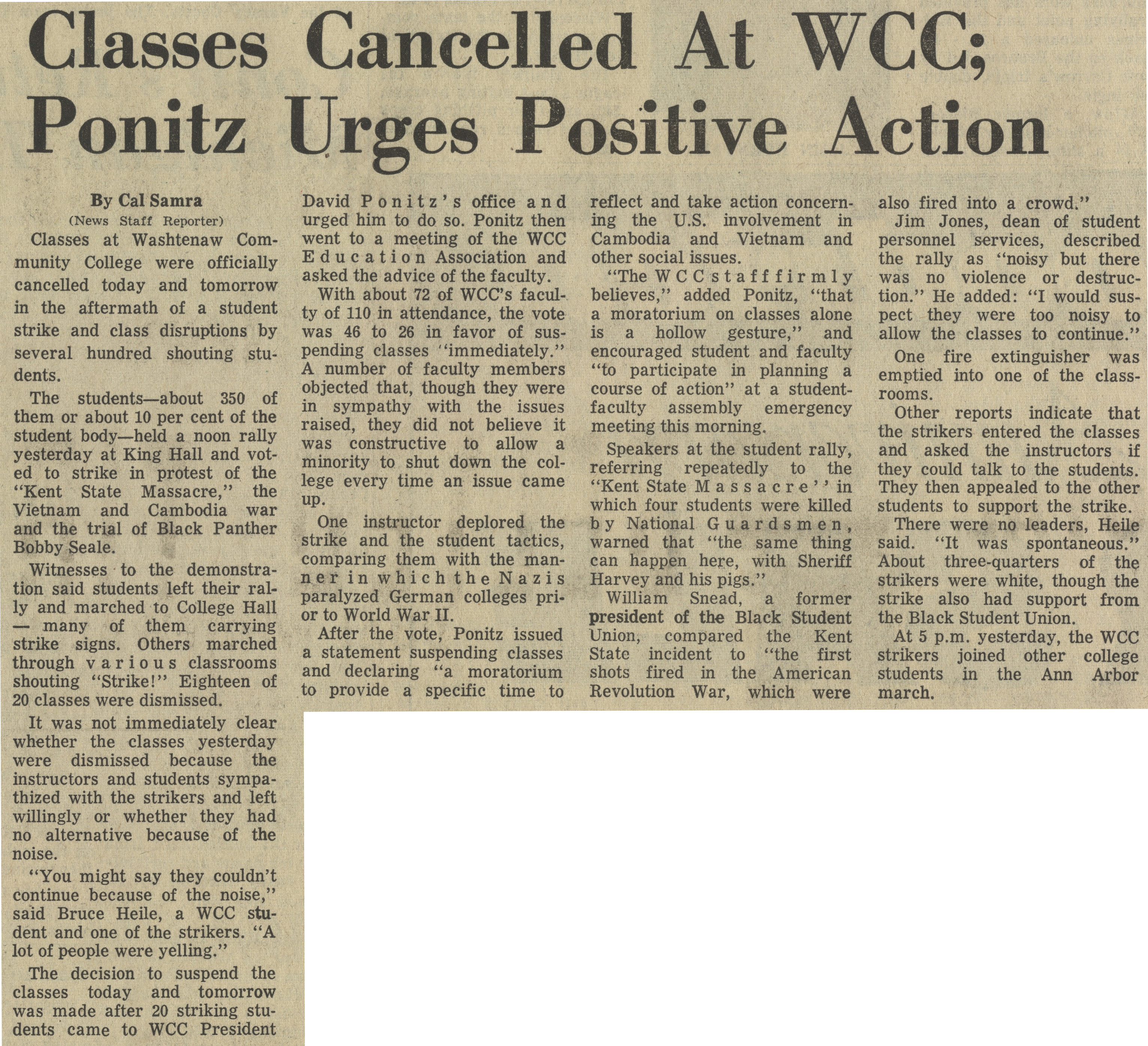 Classes Cancelled At WCC; Ponitz Urges Positive Action image