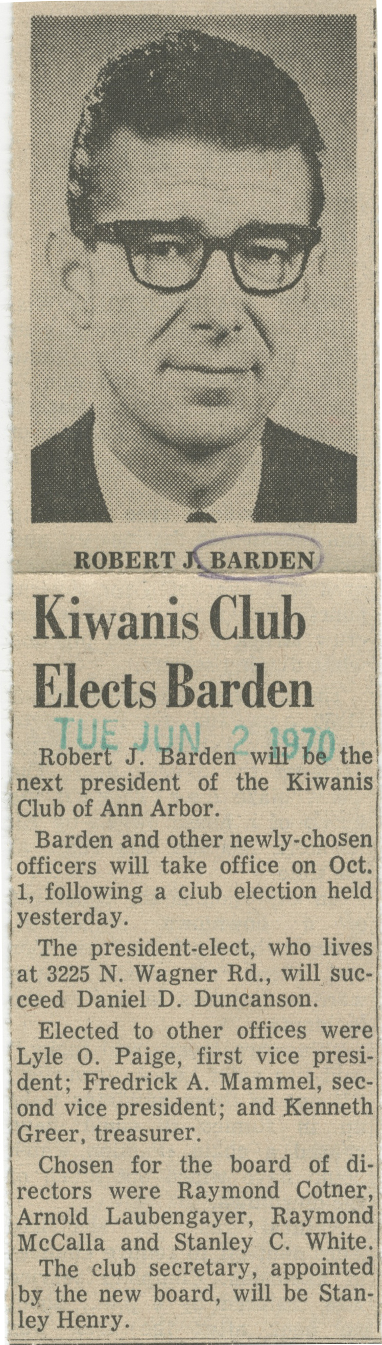 Kiwanis Club Elects Barden image