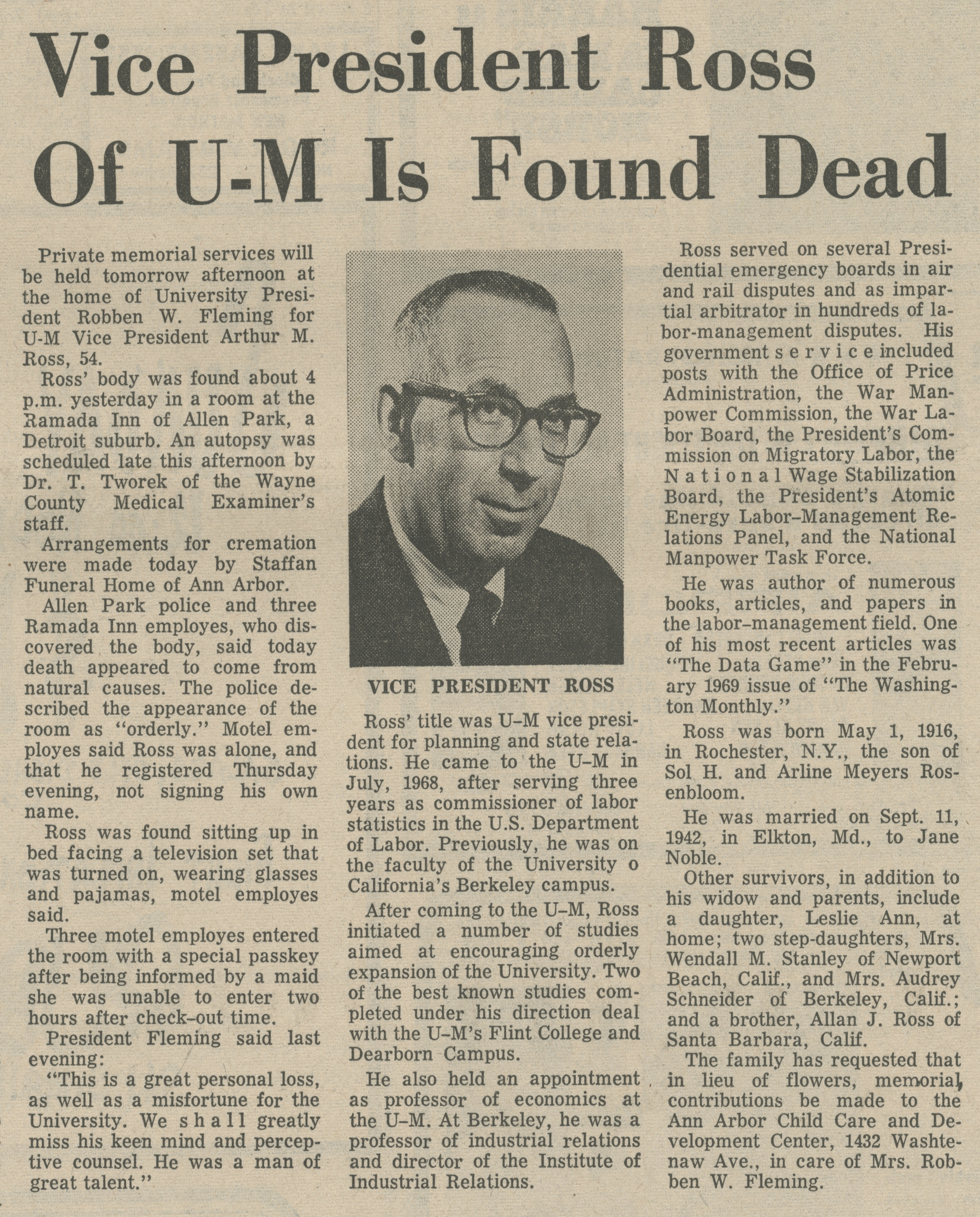 Vice President Ross Of U-M Is Found Dead image