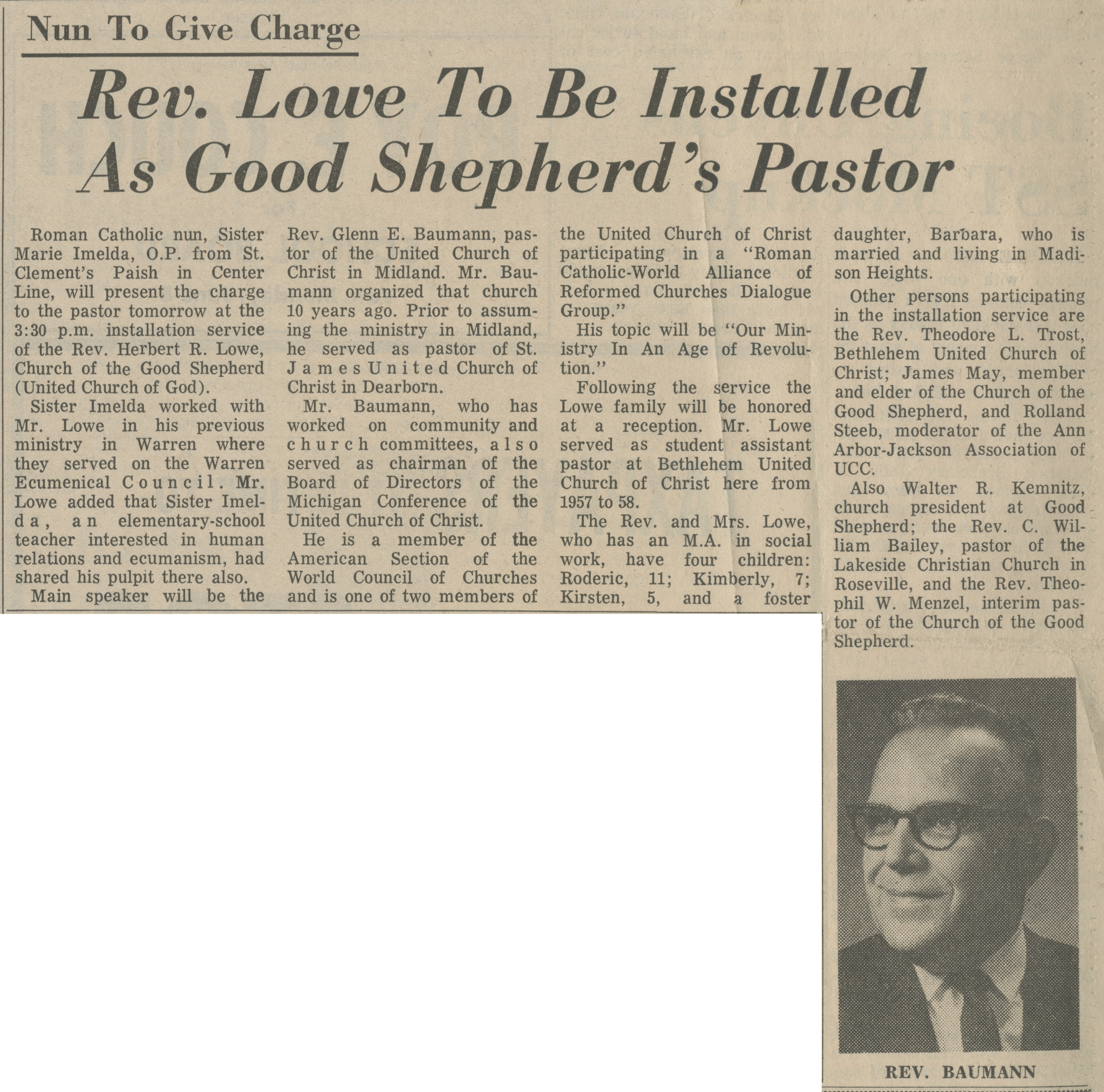 Rev. Lowe To Be Installed As Good Shepherd's Pastor image