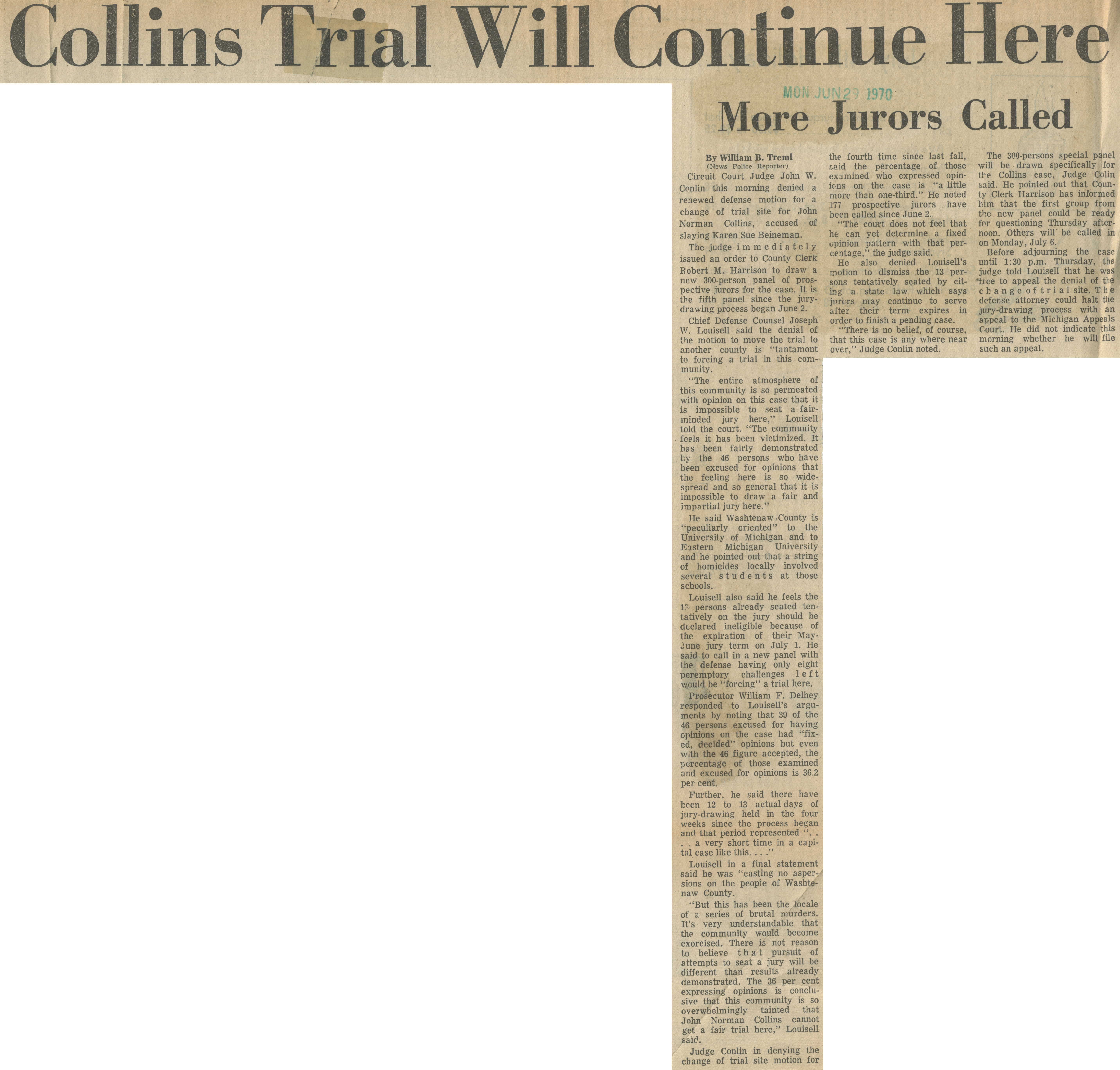 Collins Trial Will Continue Here image