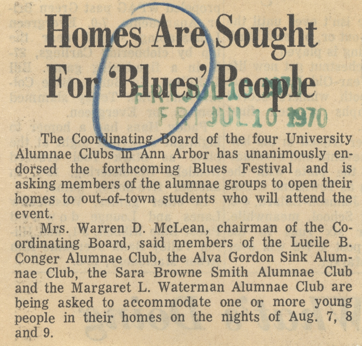 Homes Are Sought For 'Blues' People image