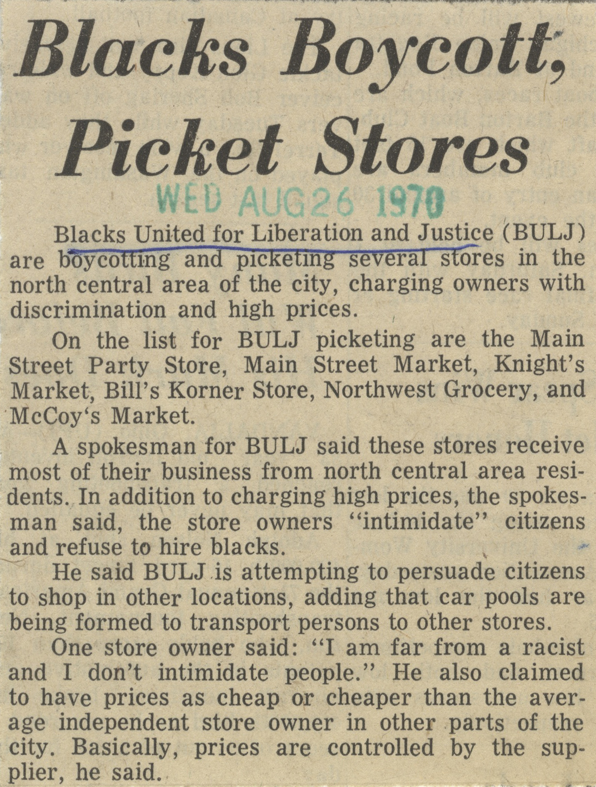 Blacks Boycott, Pickett Stores image