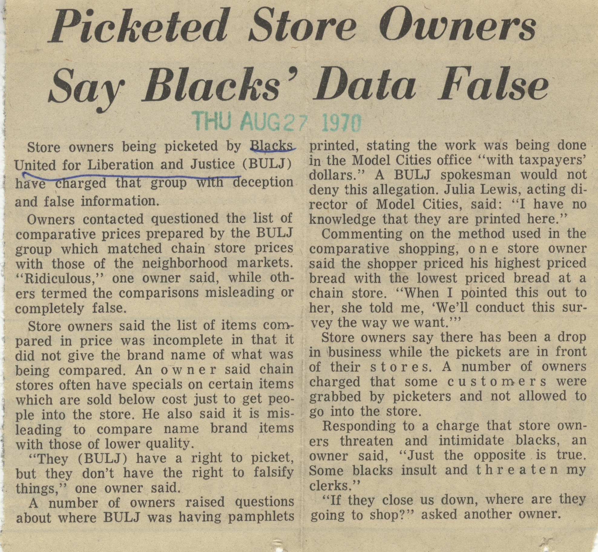 Picketed Store Owners Say Blacks' Data False image