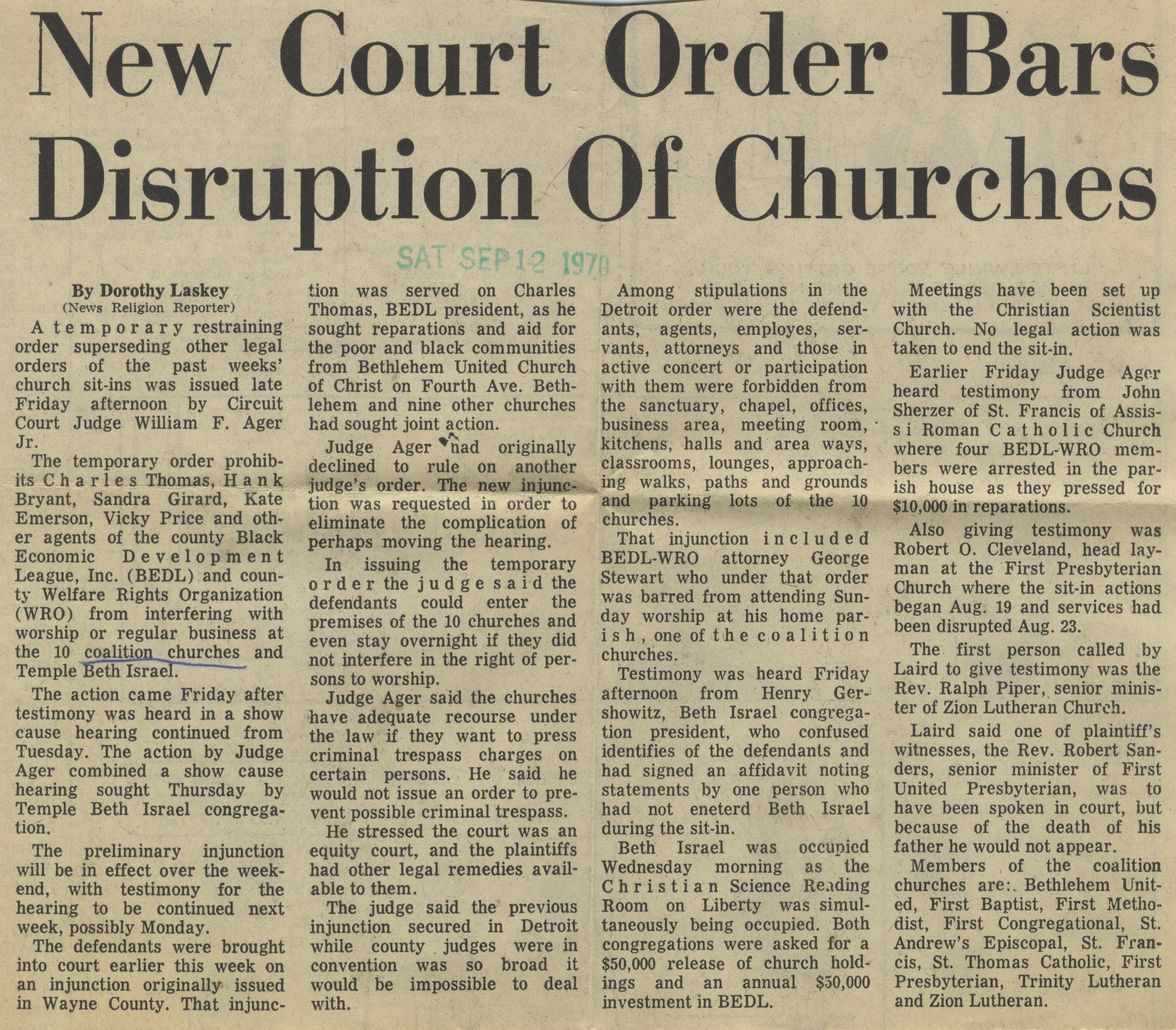 New Court Order Bars Disruption Of Churches image