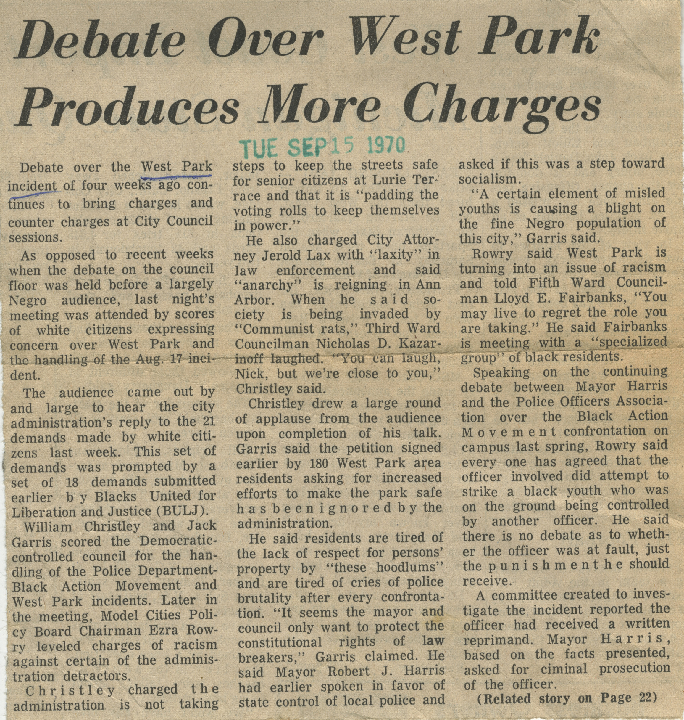 Debate Over West Park Produces More Charges image