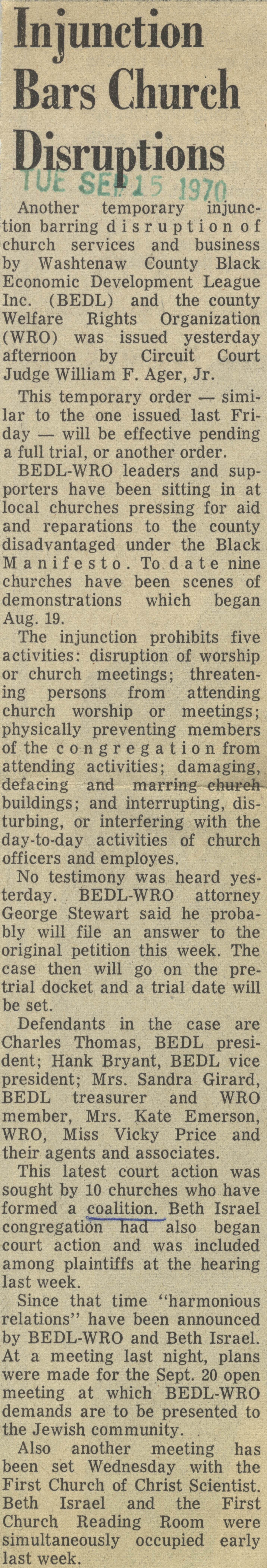 Injunction Bars Church Disruptions image