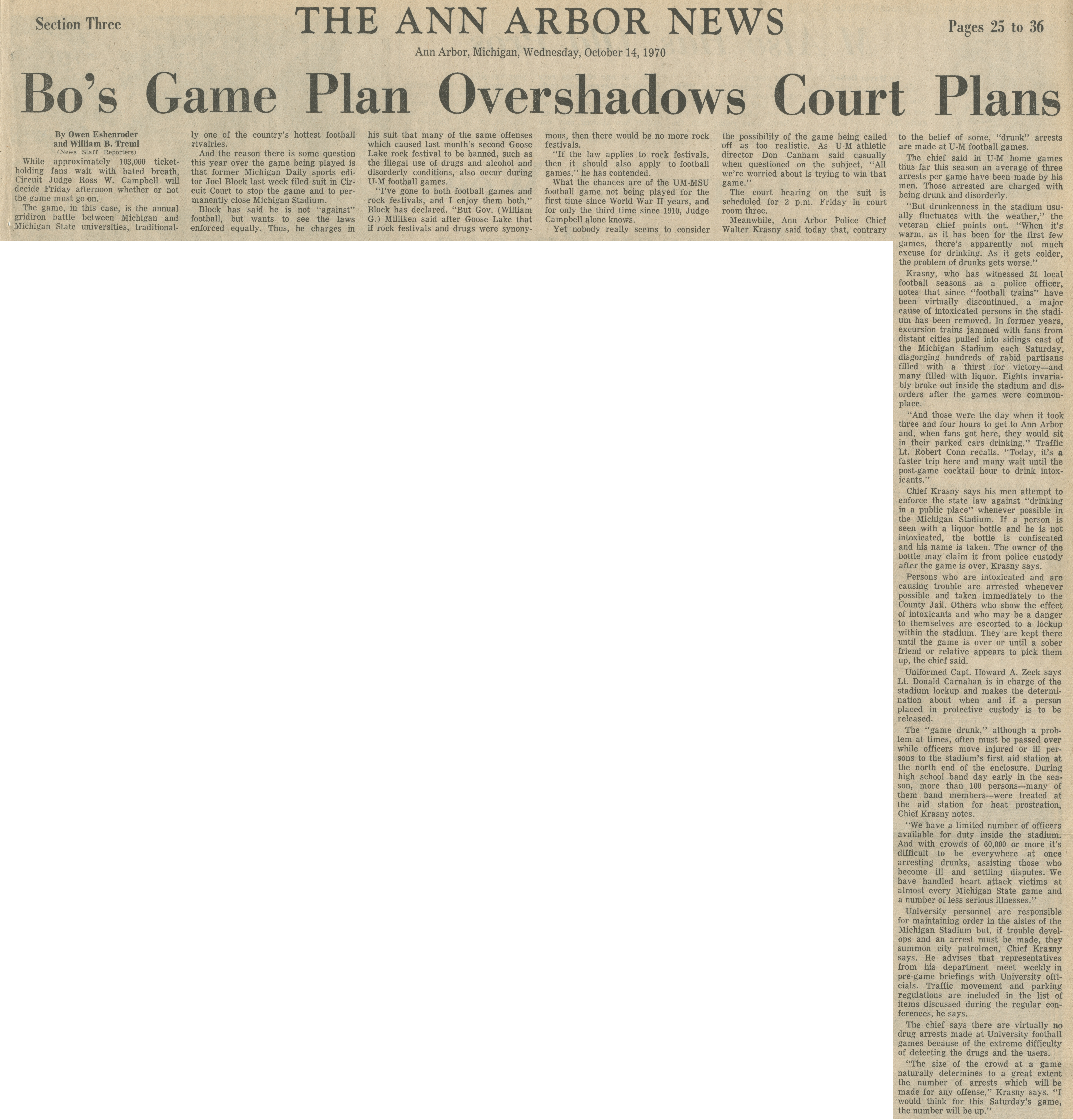 Bo's Game Plan Overshadows Court Plans image