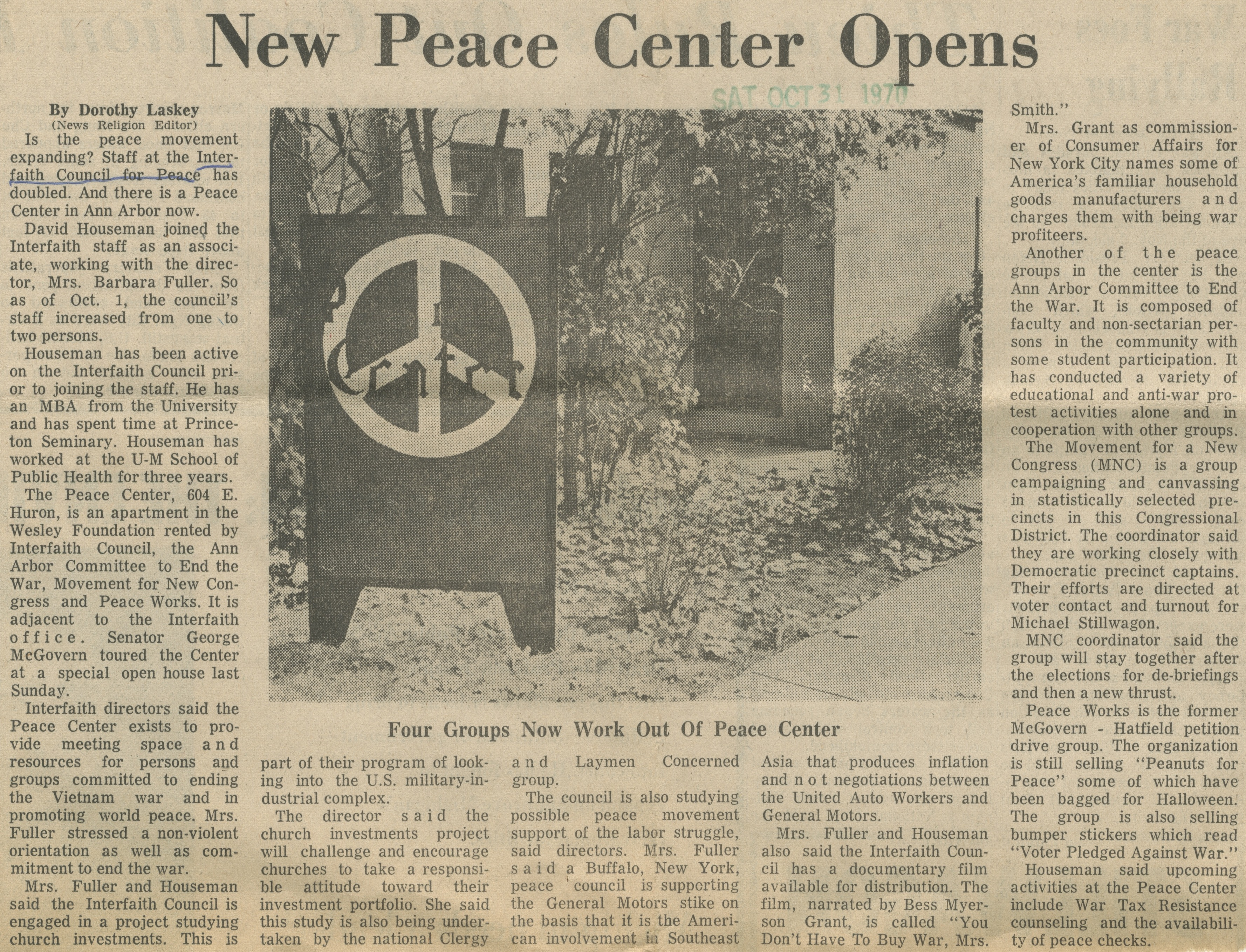 New Peace Center Opens image