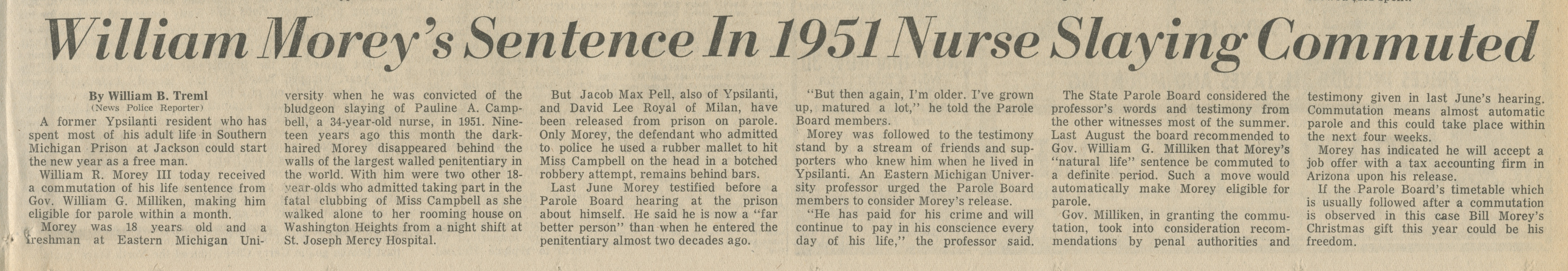 William Morey's Sentence In 1951 Nurse Slaying Commuted image
