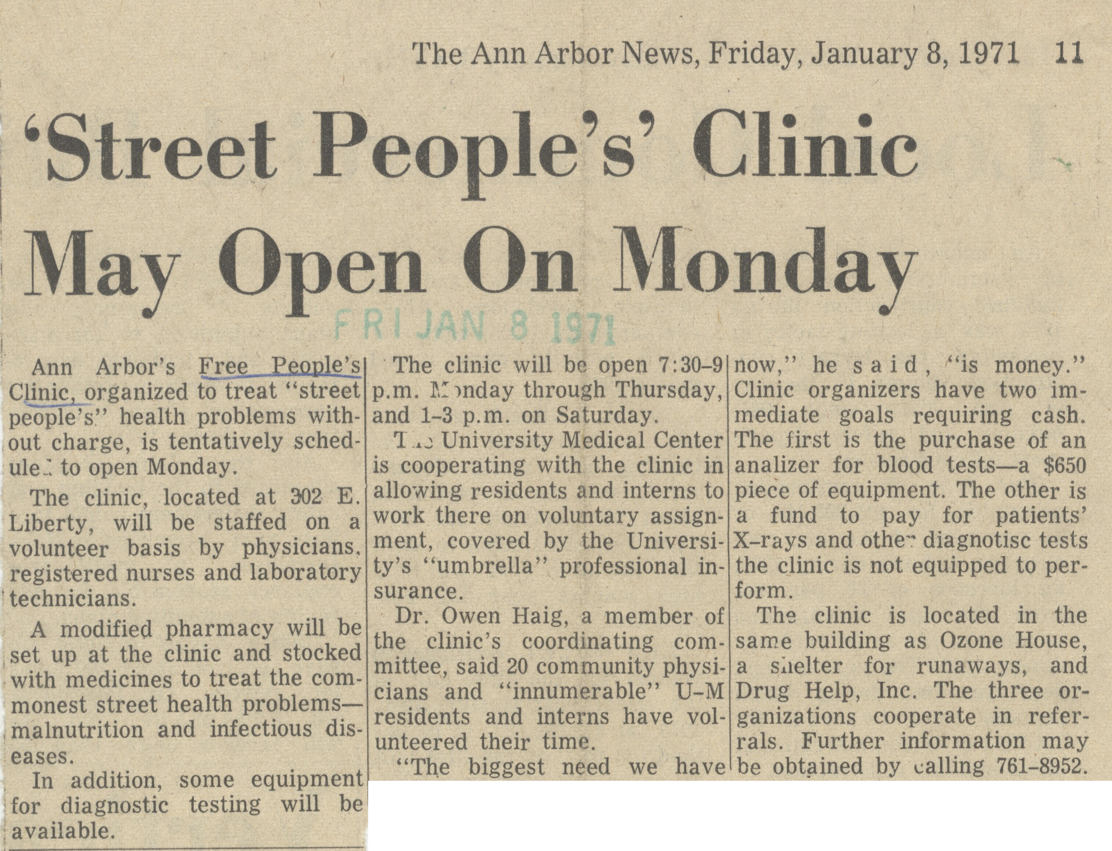 'Street People's' Clinic May Open On Monday image